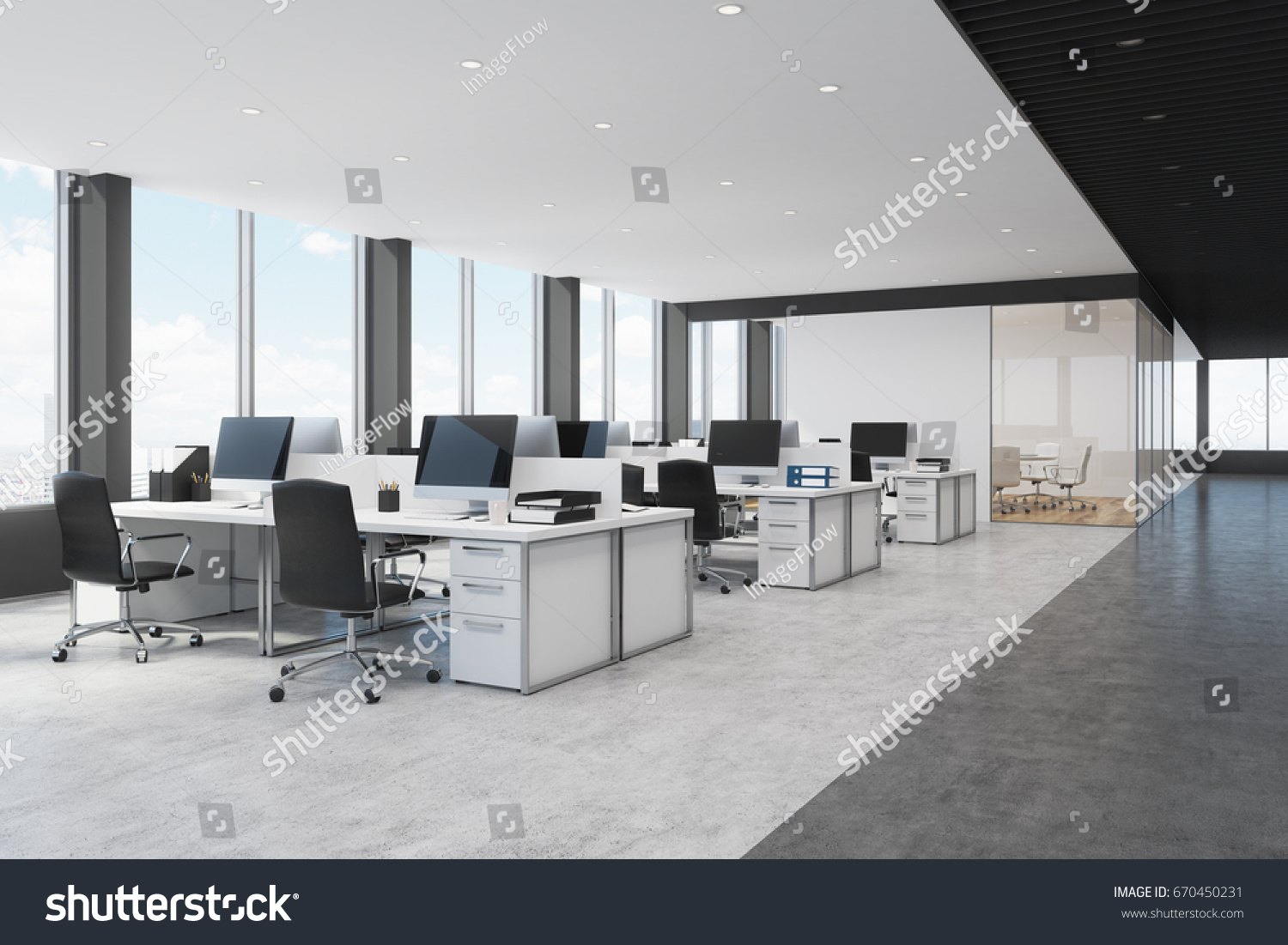 Side View White Black Open Space Stock Illustration