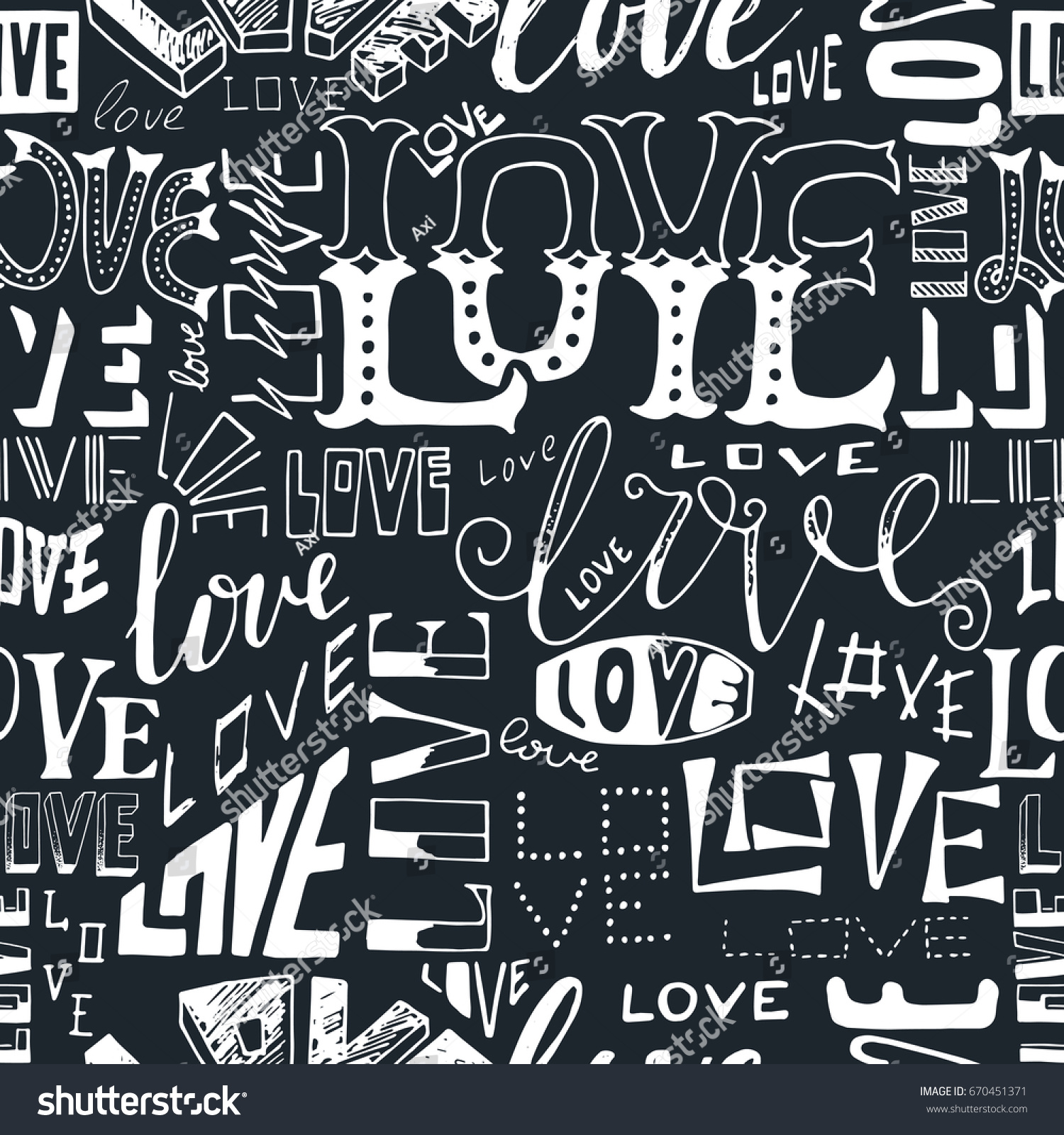Typographic Style Seamless Repeat Pattern Hand Stock Vector
