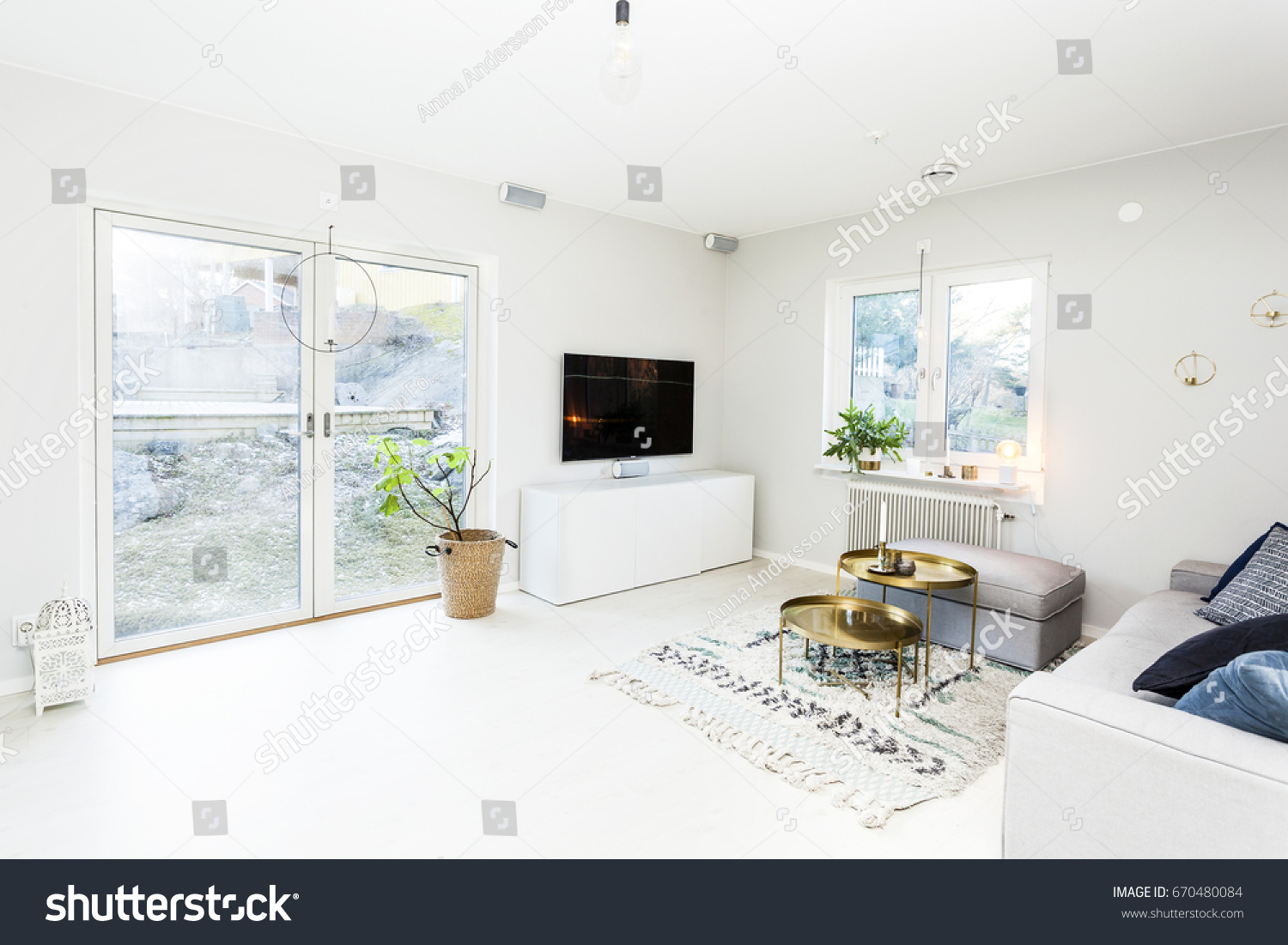 Fancy living room with tv and glass doors out to the garden