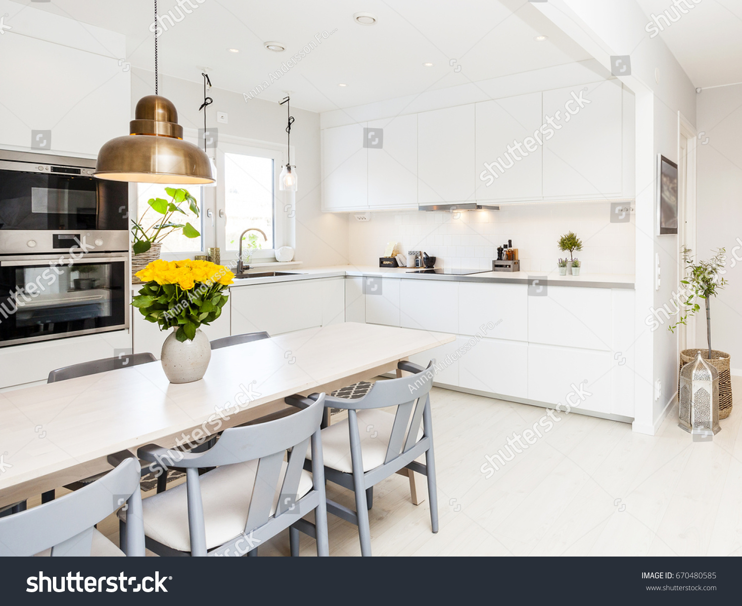 Fancy Kitchen Interior Grey Chairs Bay Stock Photo (Royalty Free ...