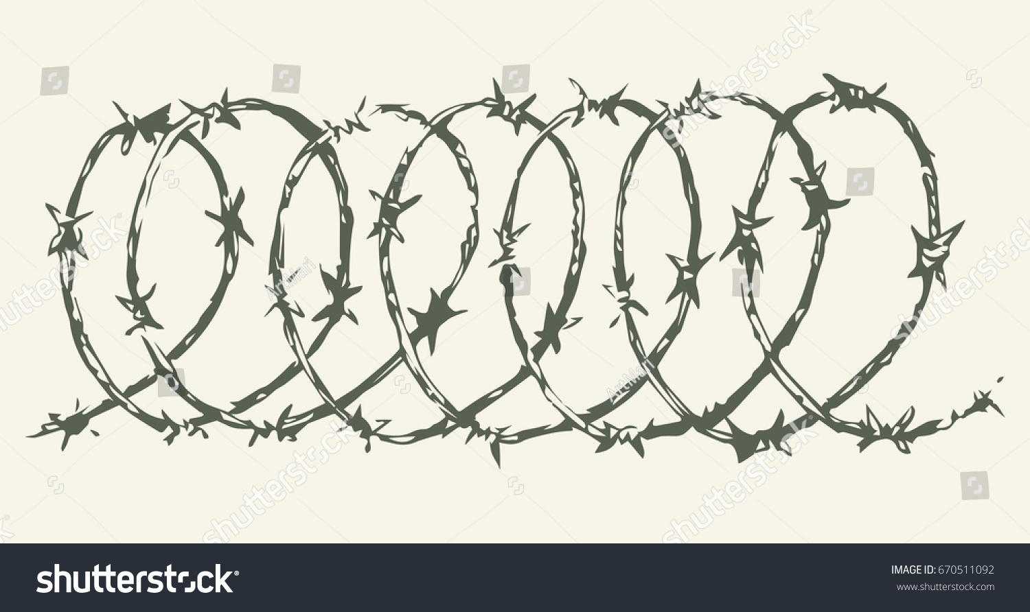 Obstacle Spiral Bob Razorwire Isolated On Stock Vector 670511092 ...