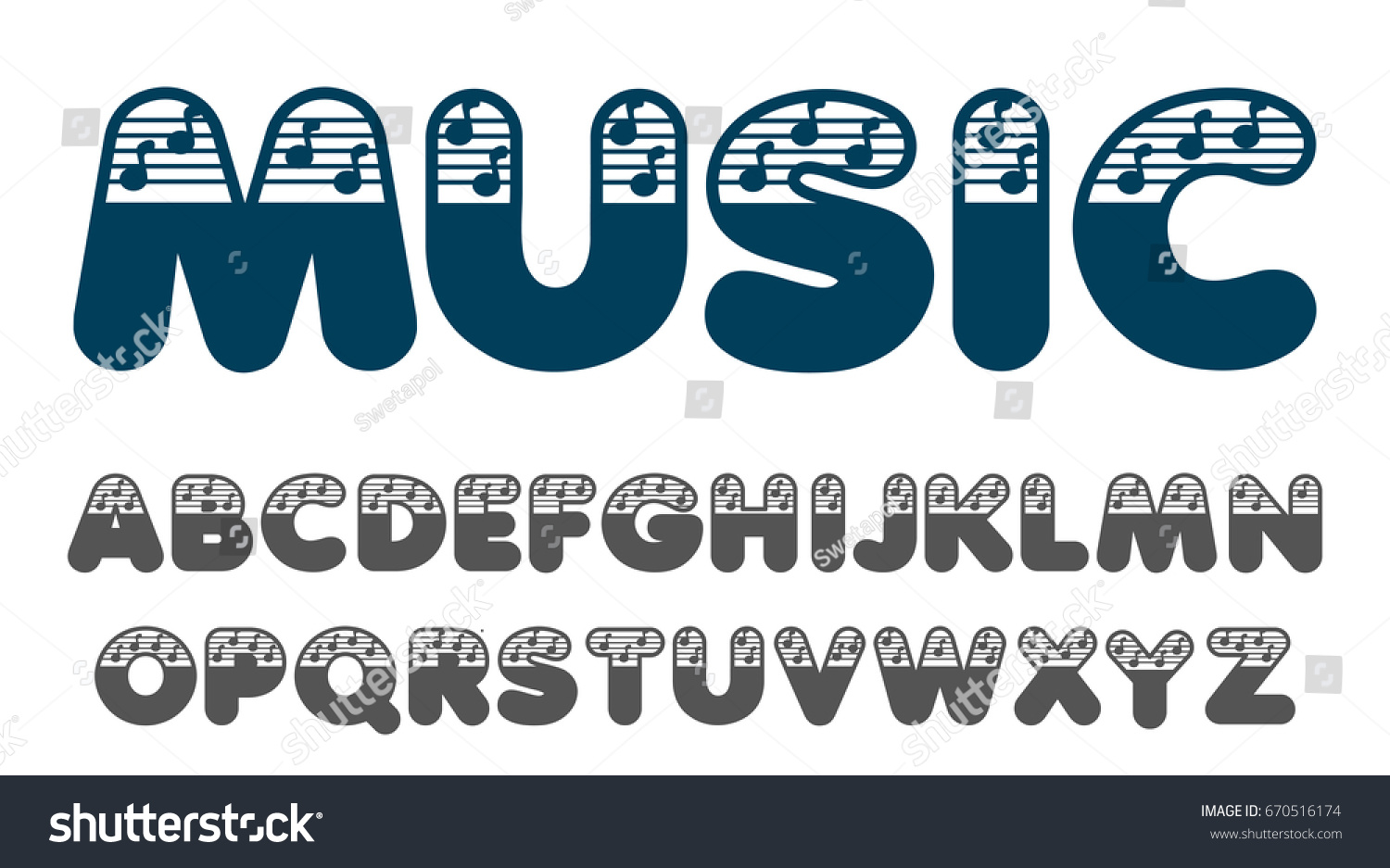 Alphabet Set Made Musical Notes Font Stock Vector 670516174 ...