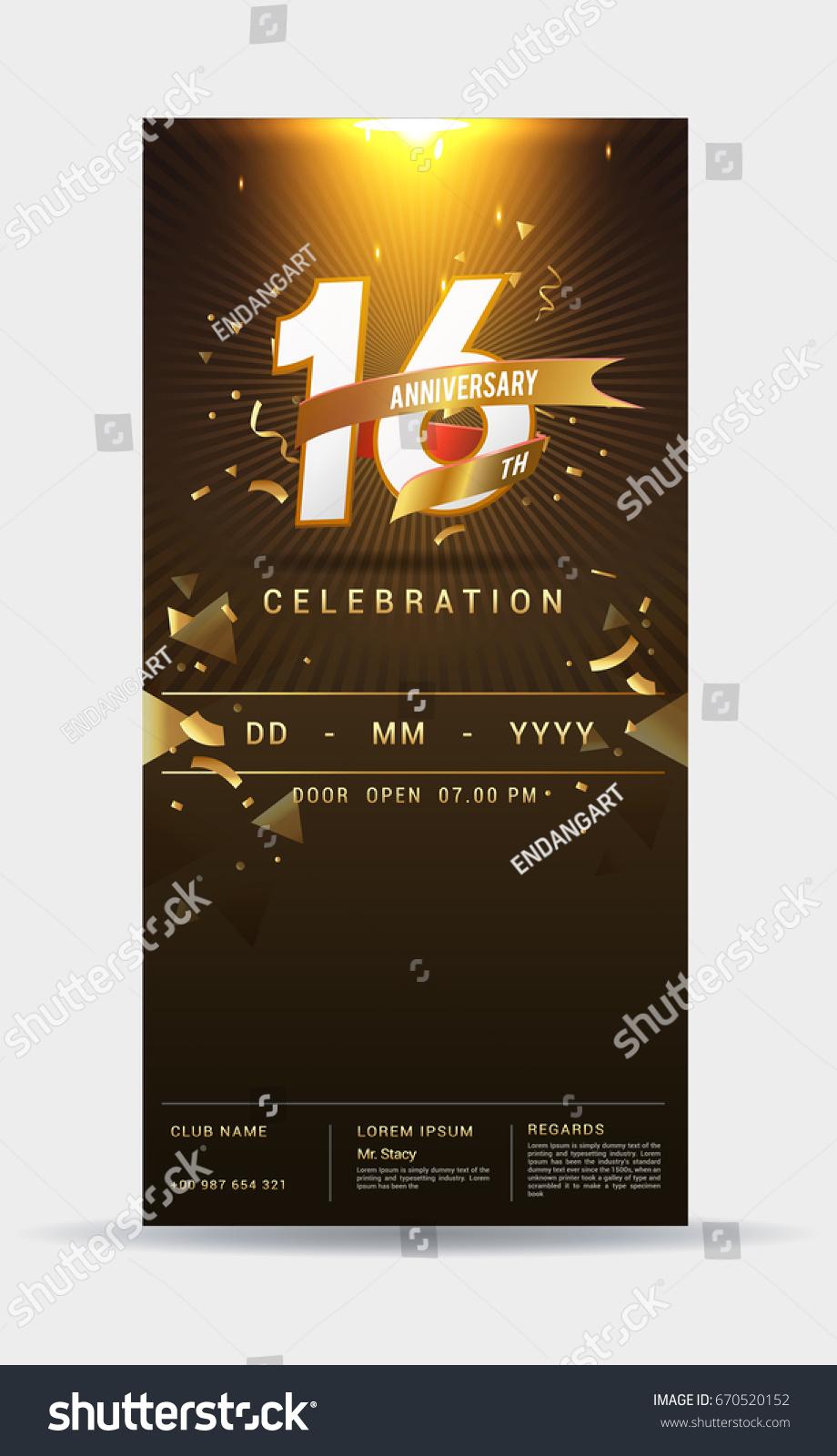 16 years anniversary invitation card shiny stock vector 670520152 16 years anniversary invitation card shiny stock vector 670520152 shutterstock stopboris Images