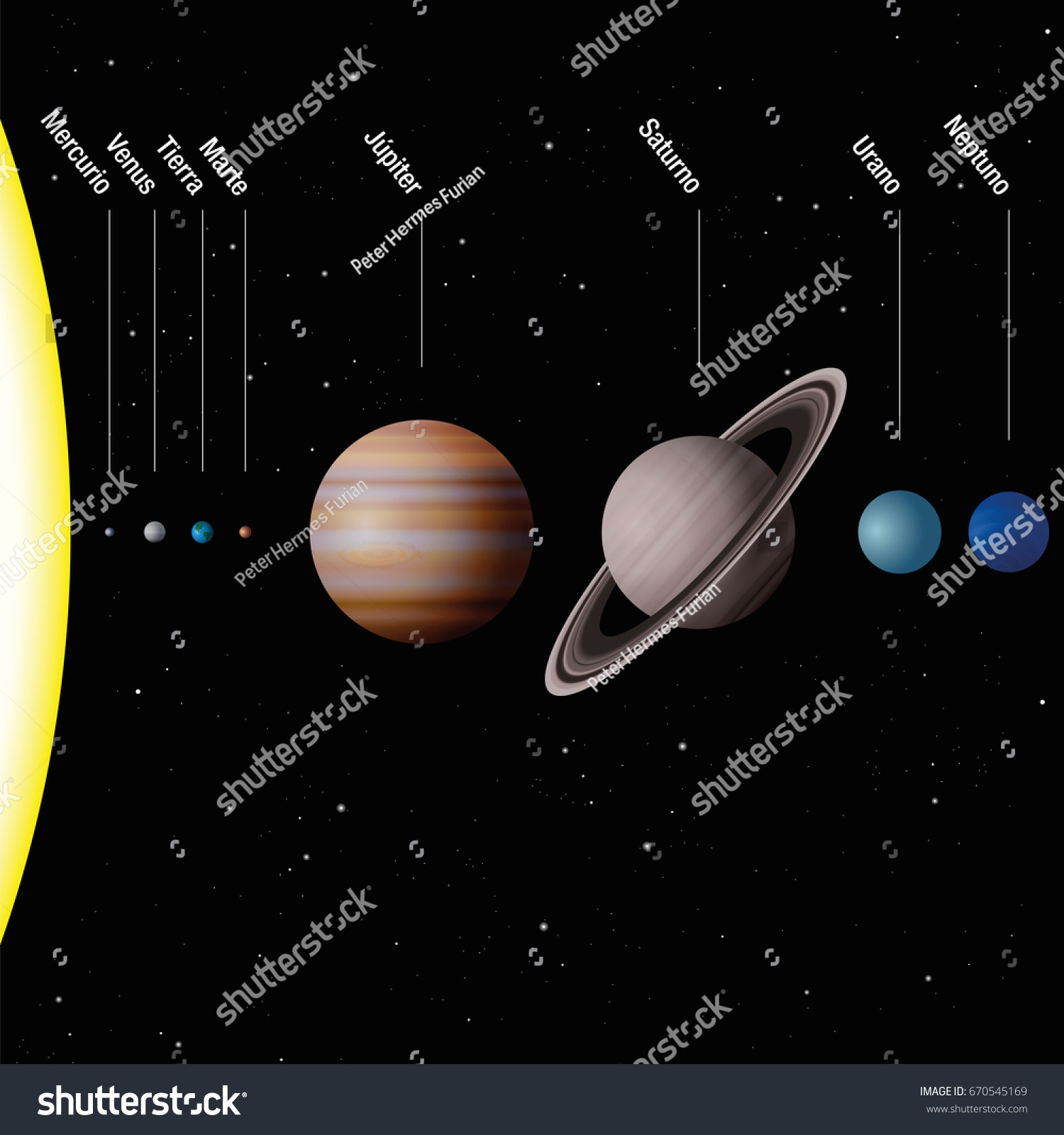 Planets Our Solar System Spanish Labeling Stock Vector ...
