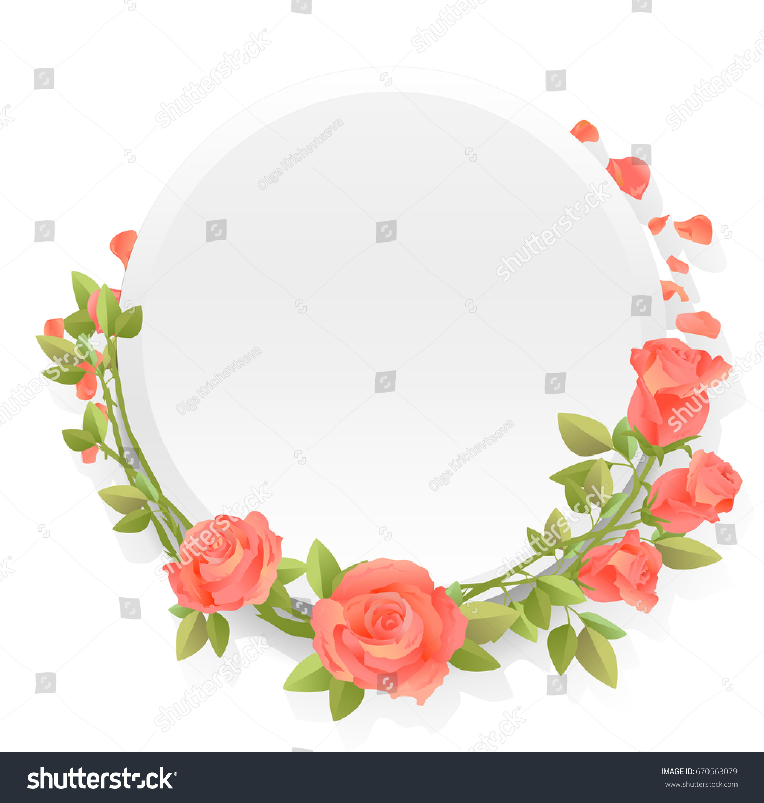 Round Frame Flowers Pink Red Roses Stock Vector 670563079 - Shutterstock