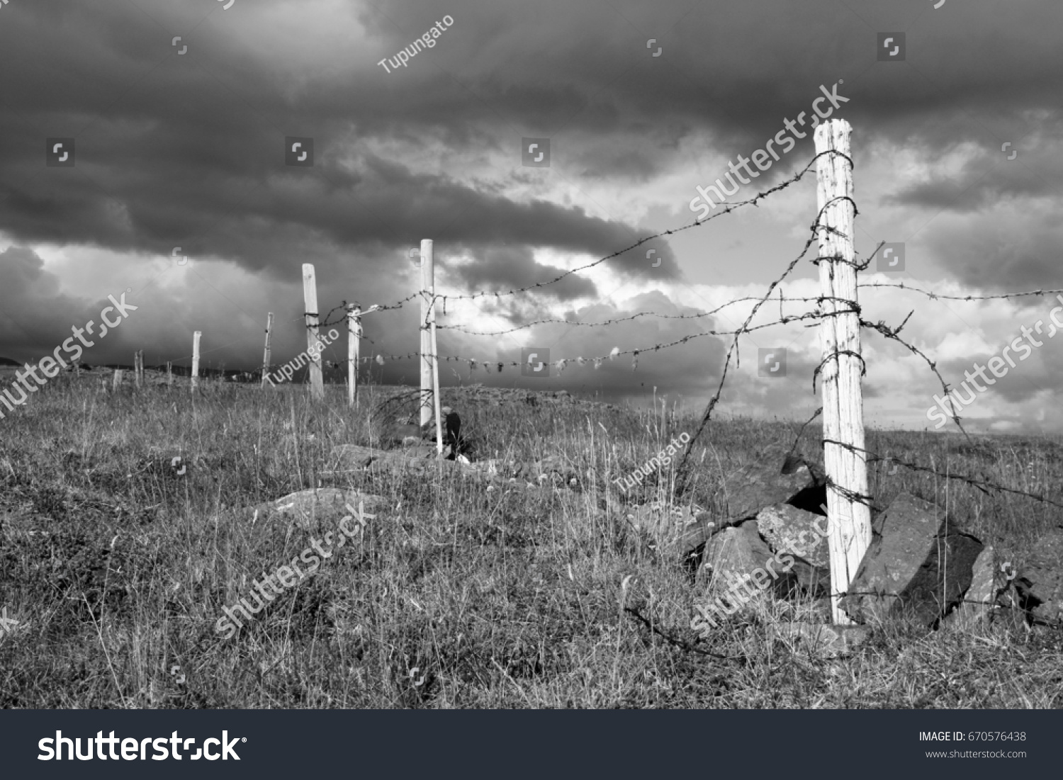 Old Barbed Wire Fence Farm Iceland Stock Photo (Royalty Free ...