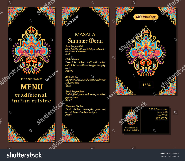 Indian Food Restaurant Menu Template Food Vectores En Stock ...