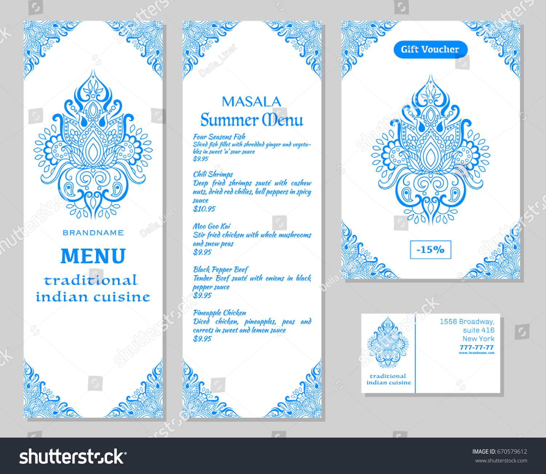 Indian Food Restaurant Menu Template Food Stock Vector 670579612 ...