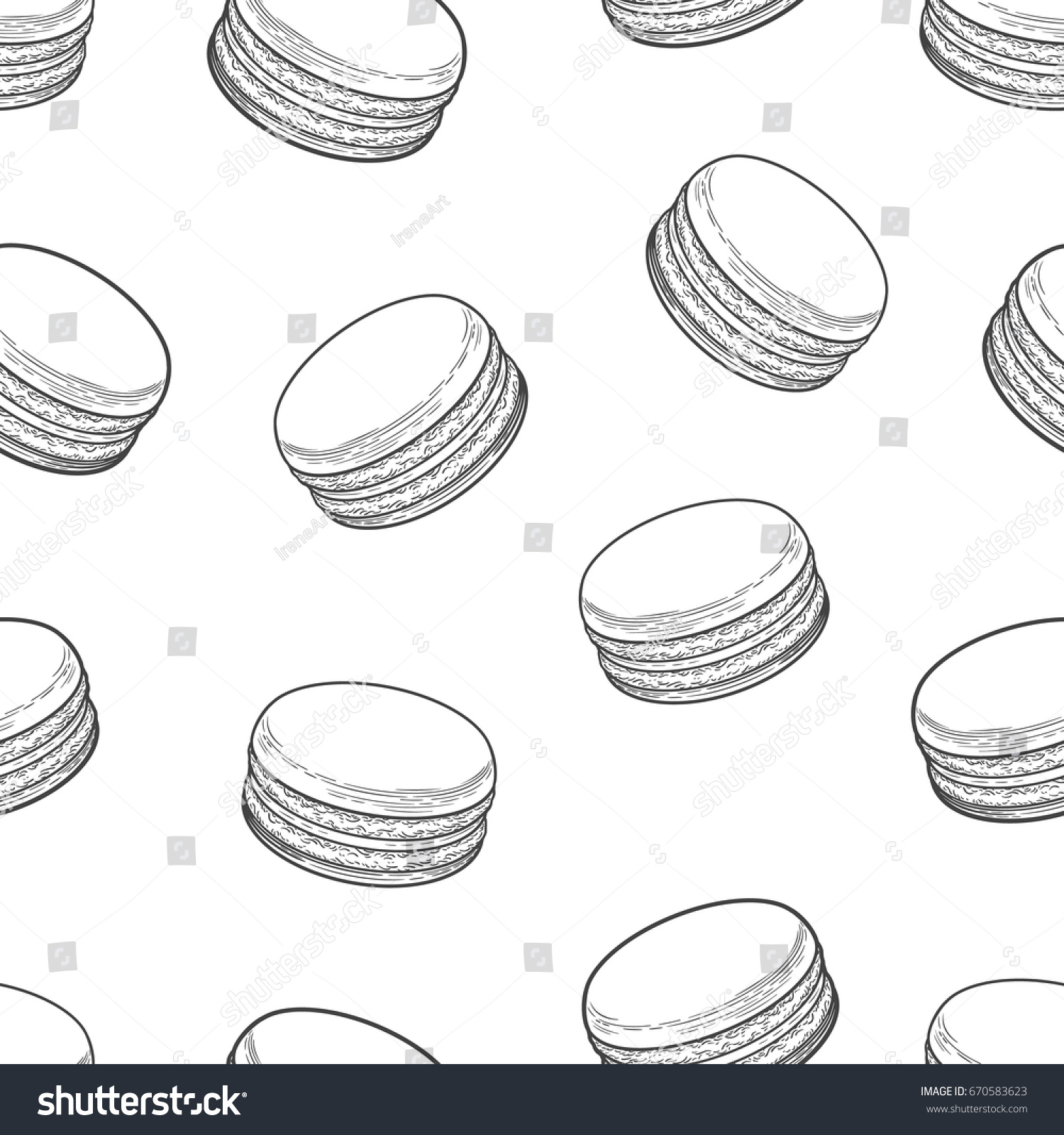 French Macarons Cookies Seamless Pattern Doodle Decorative Hand Drawn Vector Illustration