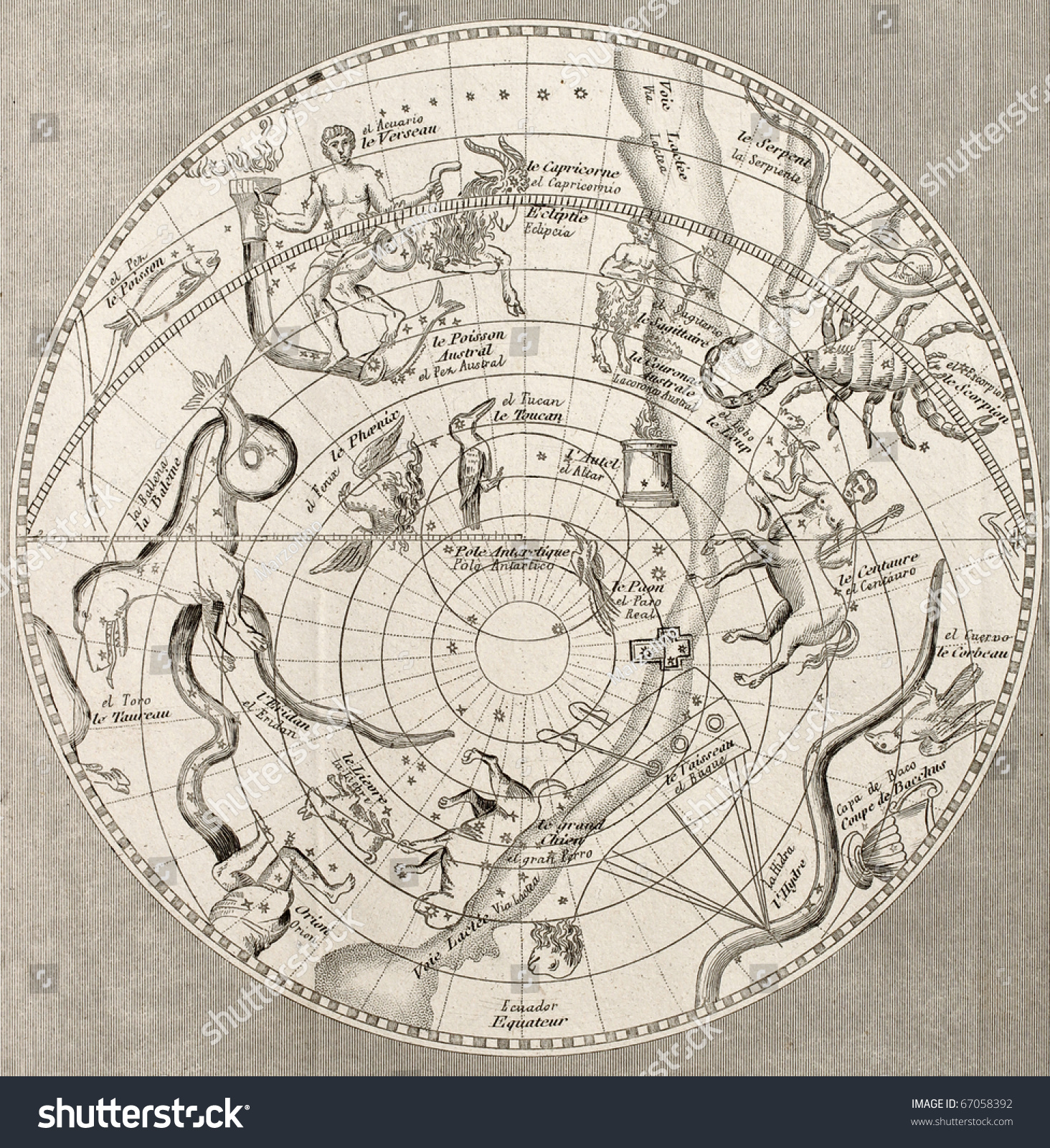 antique illustration of celestial planisphere southern hemisphere with constellations. Black Bedroom Furniture Sets. Home Design Ideas