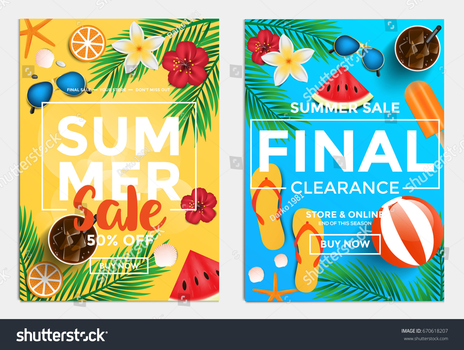 summer sale flyer template websites mobile stock vector royalty
