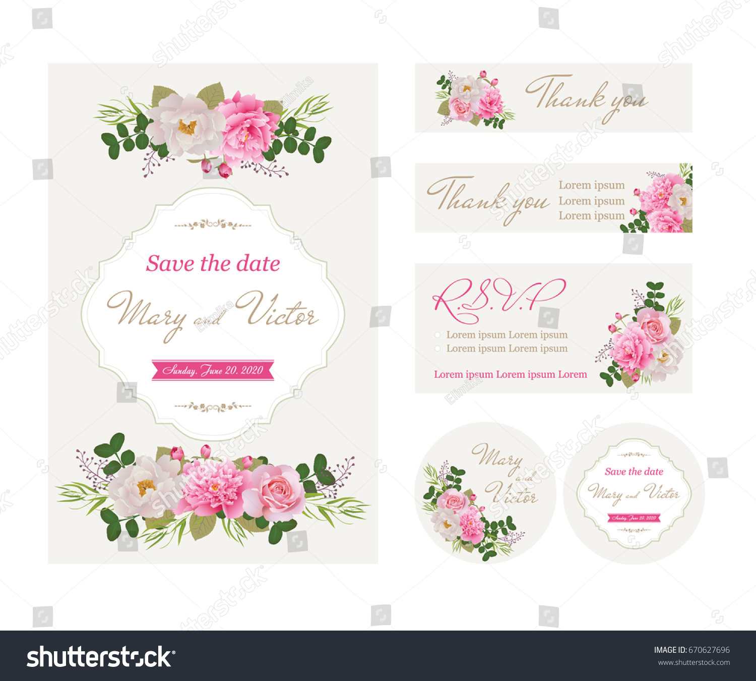 Wedding Invitation Cards Flower Template Collection Beautiful Stock ...