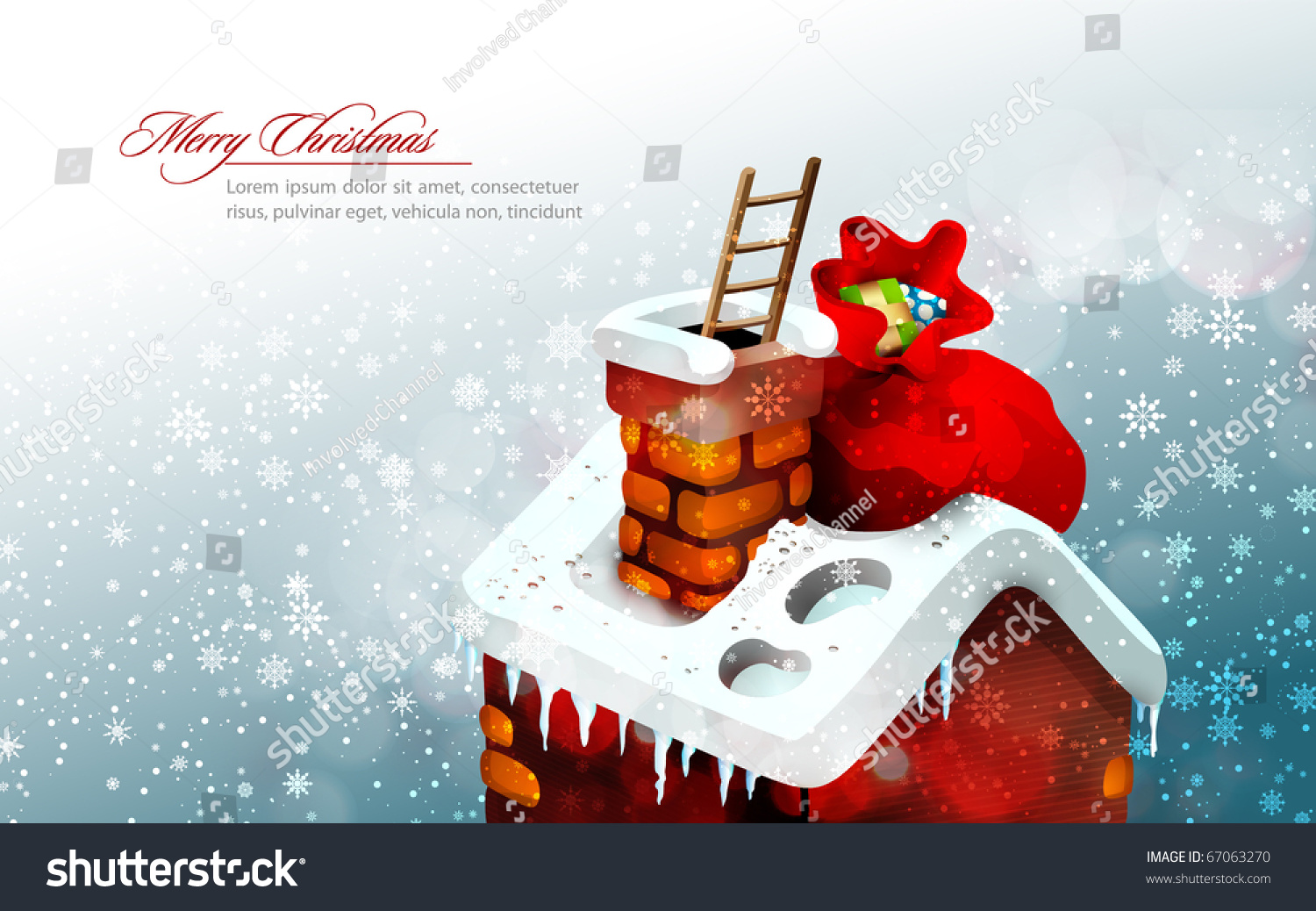 5d5c3c11d37e1 Christmas Scene with Cute House and a large gift bag that that Santa Claus  left there