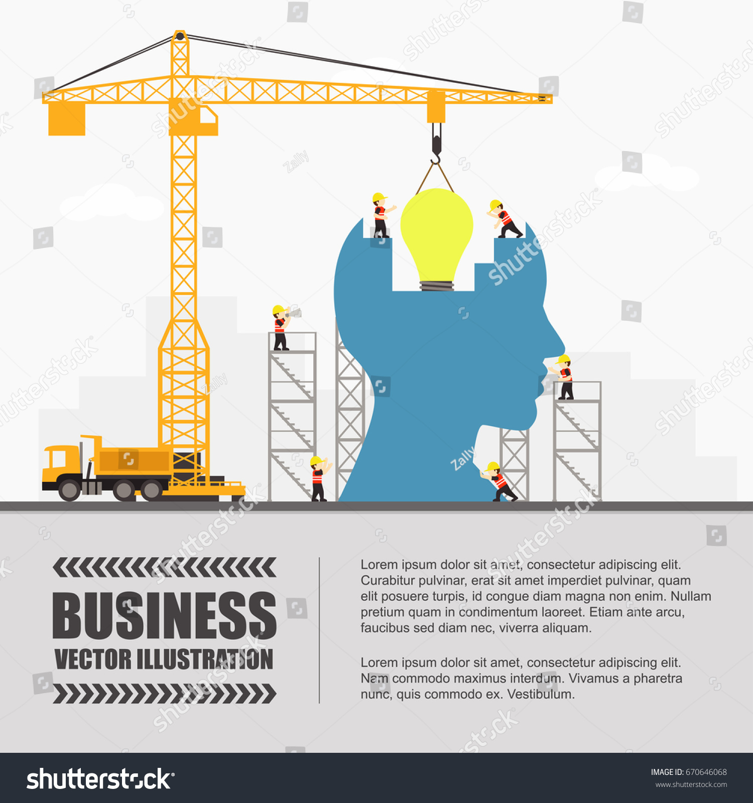 Crane Idea Building Infographic Template Vector Stock Vector (2018 ...