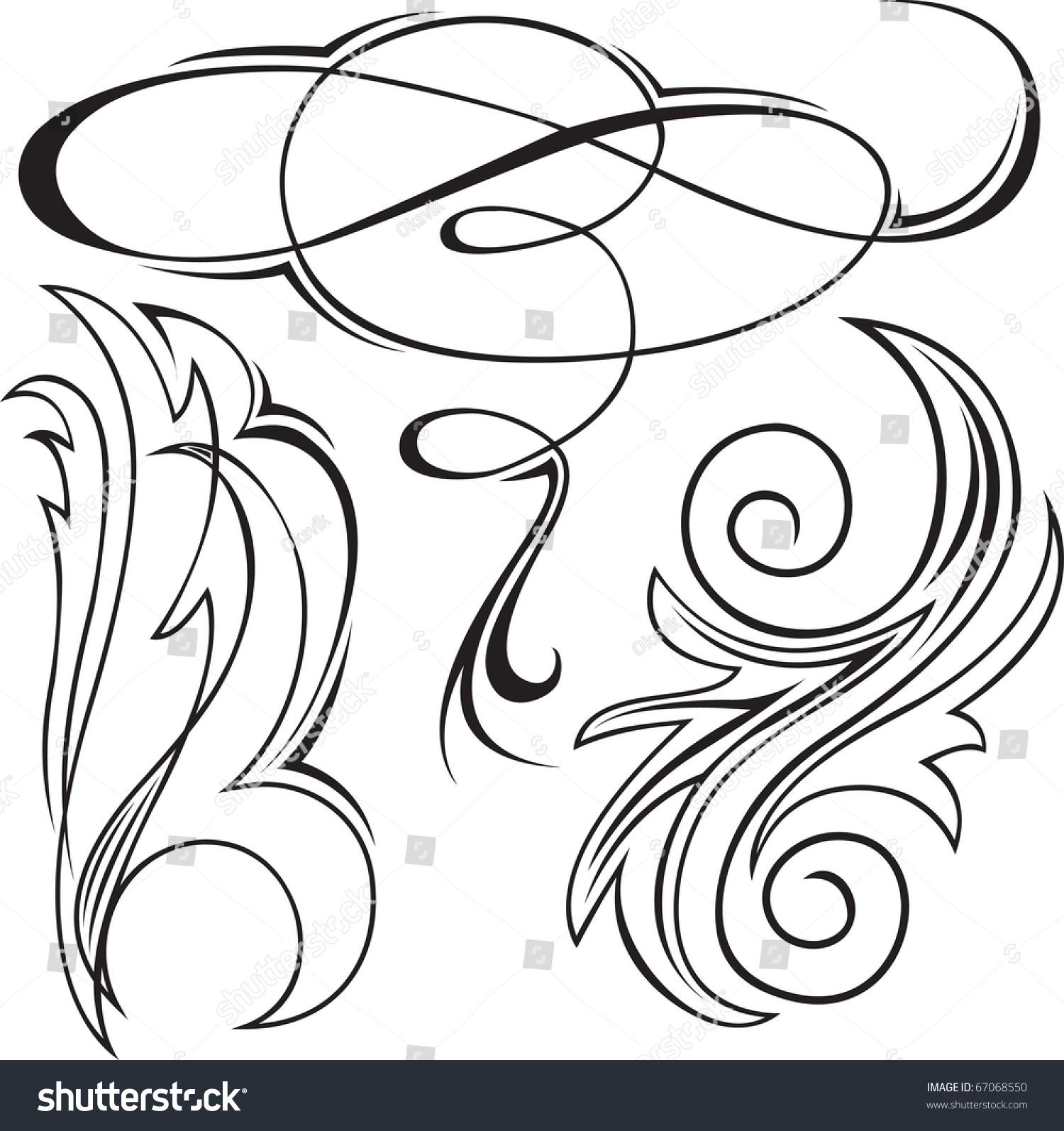 Set Of Black Flower Design Elements Vector Illustration: Vector Illustration Set Swirling Decorative Floral Stock