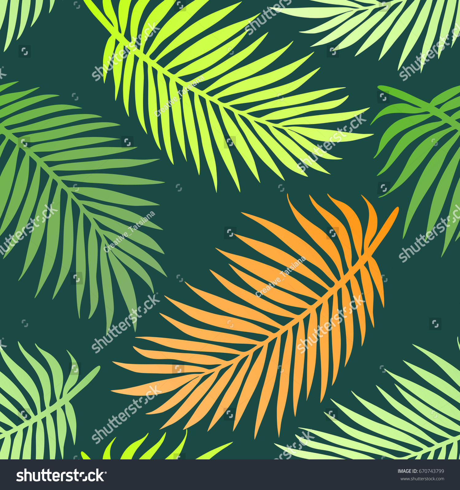 Beautiful colorful green and orange palm tree leaves. Seamless ...