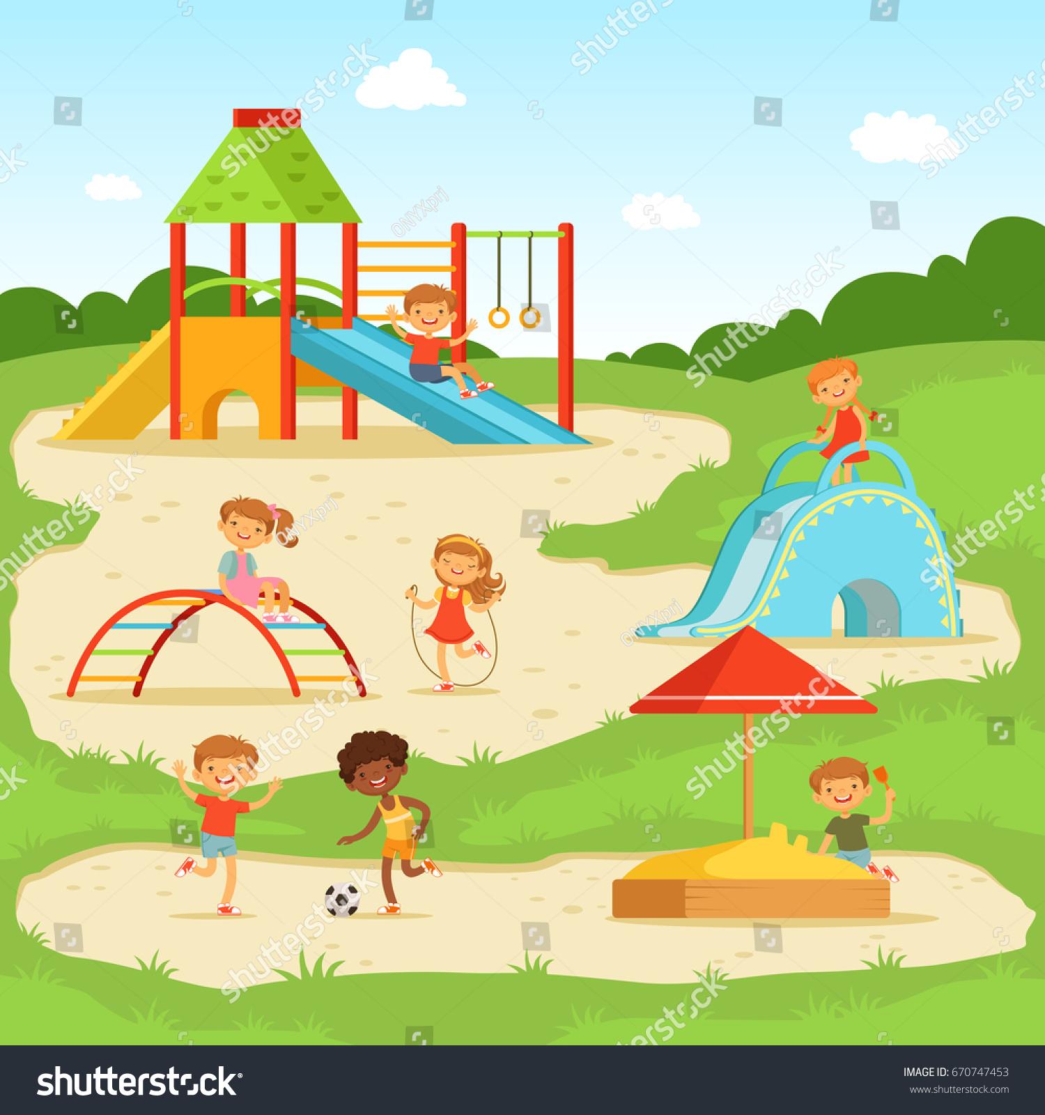 funny children summer playground kids playing stock photo (photo