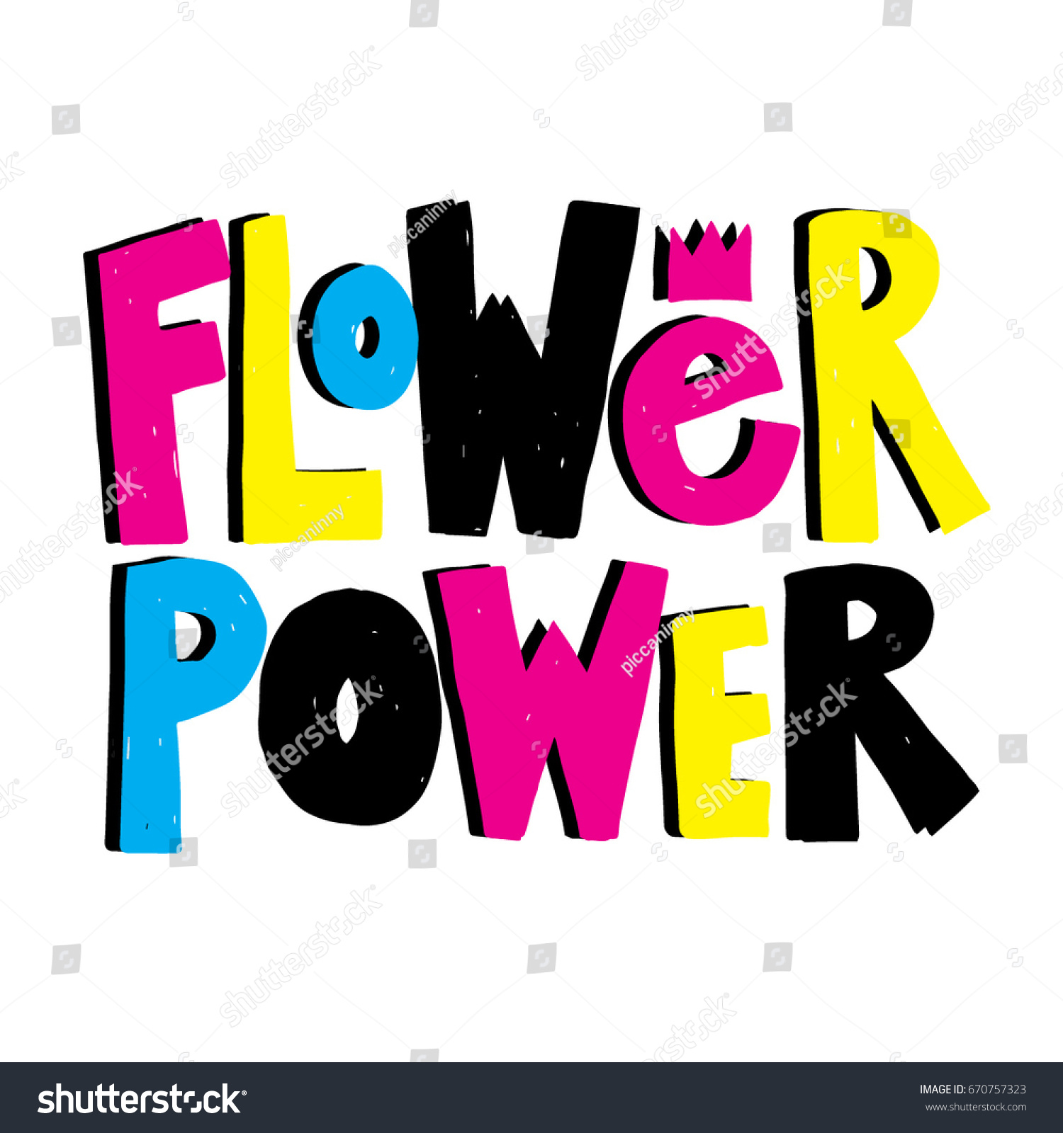 Flower Power Hand Drawn Lettering Quot Stock Vector Royalty Free