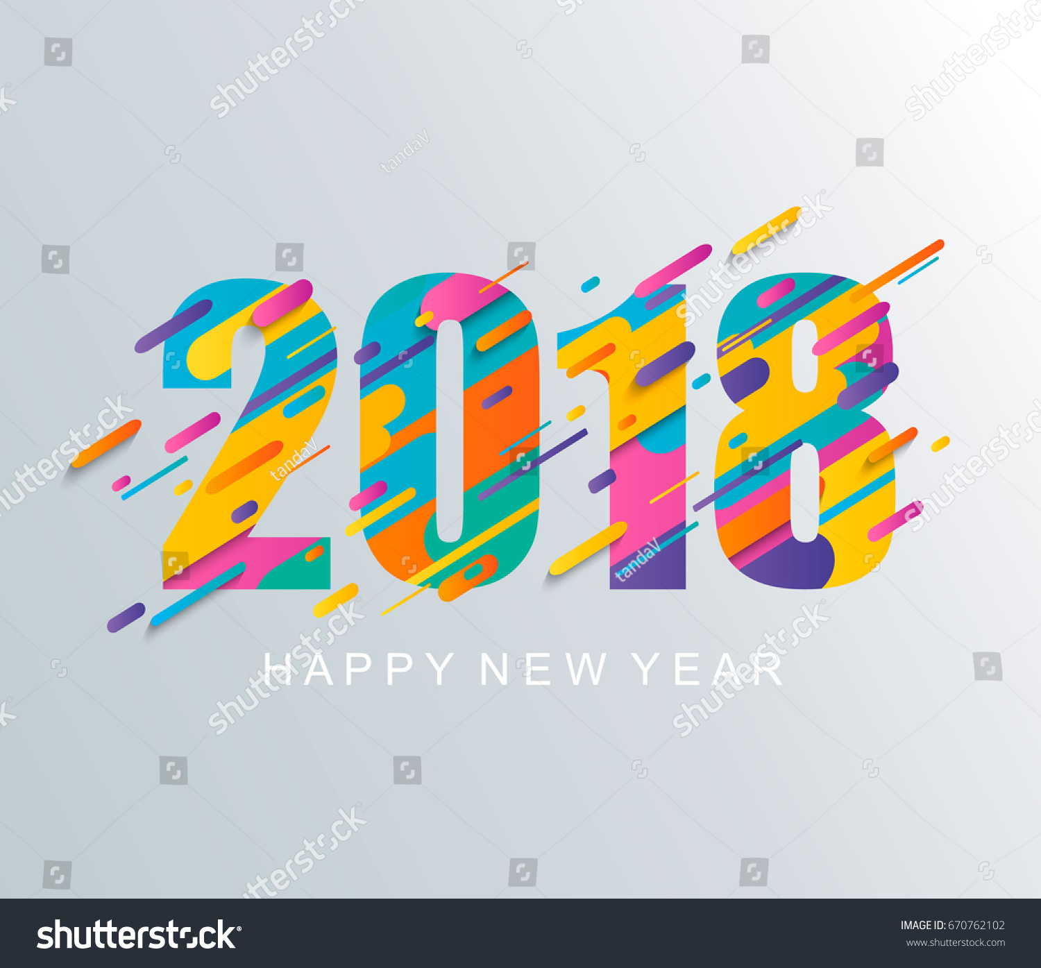 modern creative happy new year 2018 design card vector illustration
