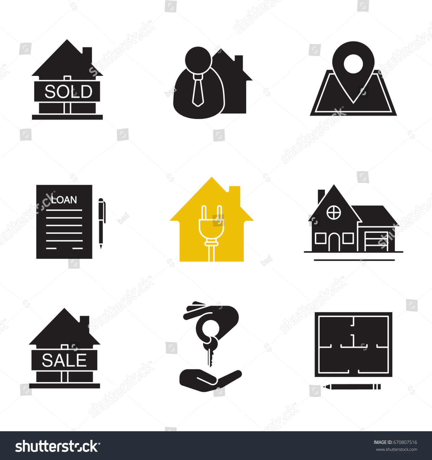 Real estate market glyph icons set stock vector 670807516 for House music symbol