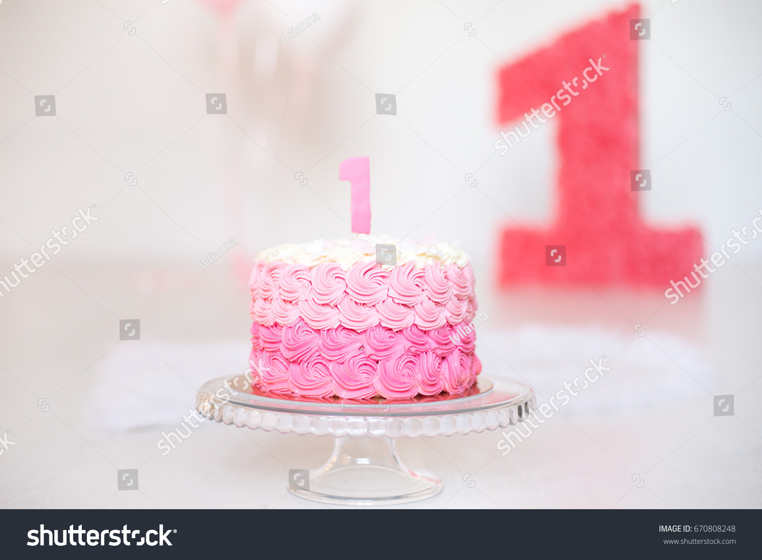 First Birthday Cake Girl Stock Photo Edit Now 670808248 Shutterstock