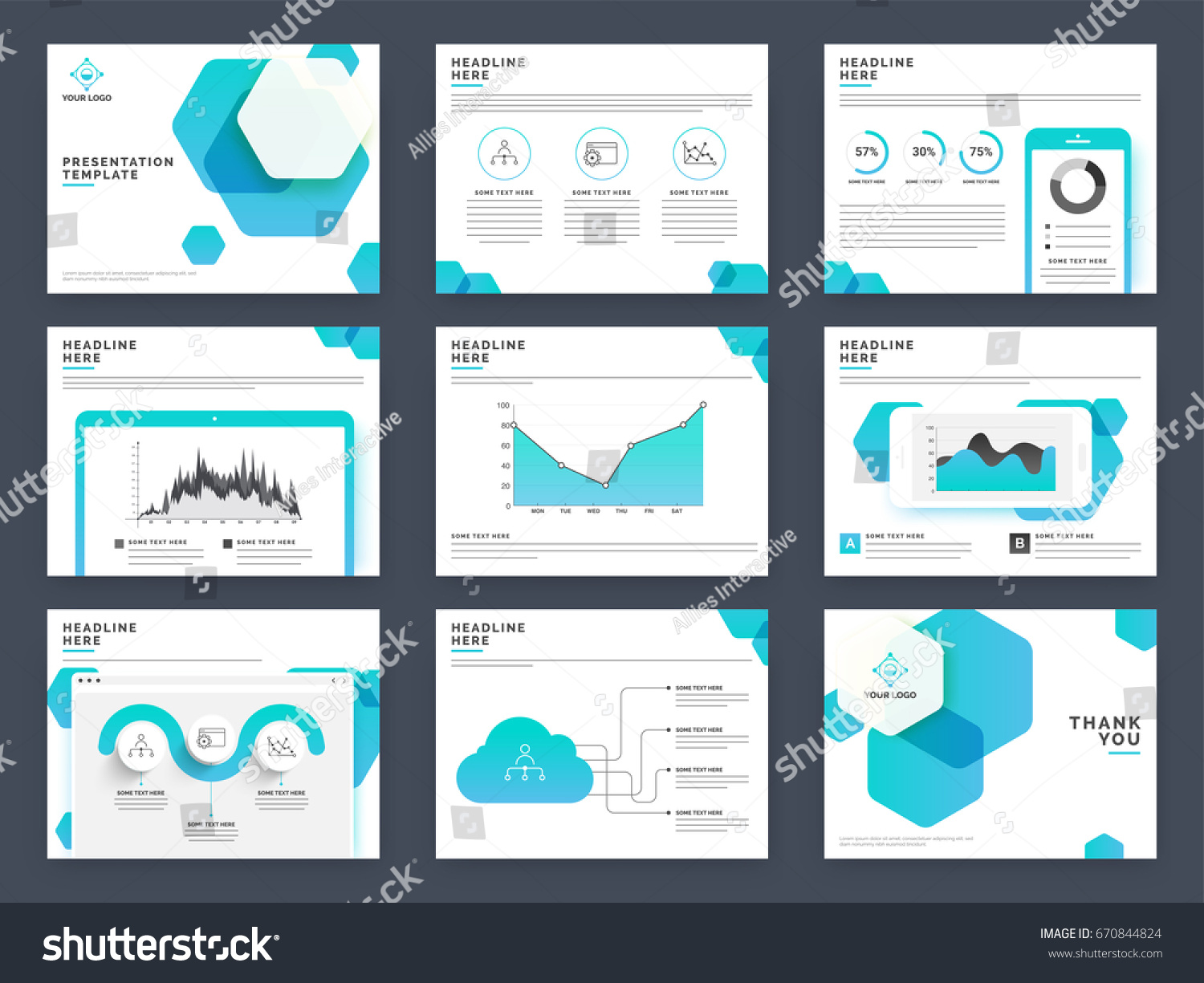 creative presentation templates your business reports stock vector