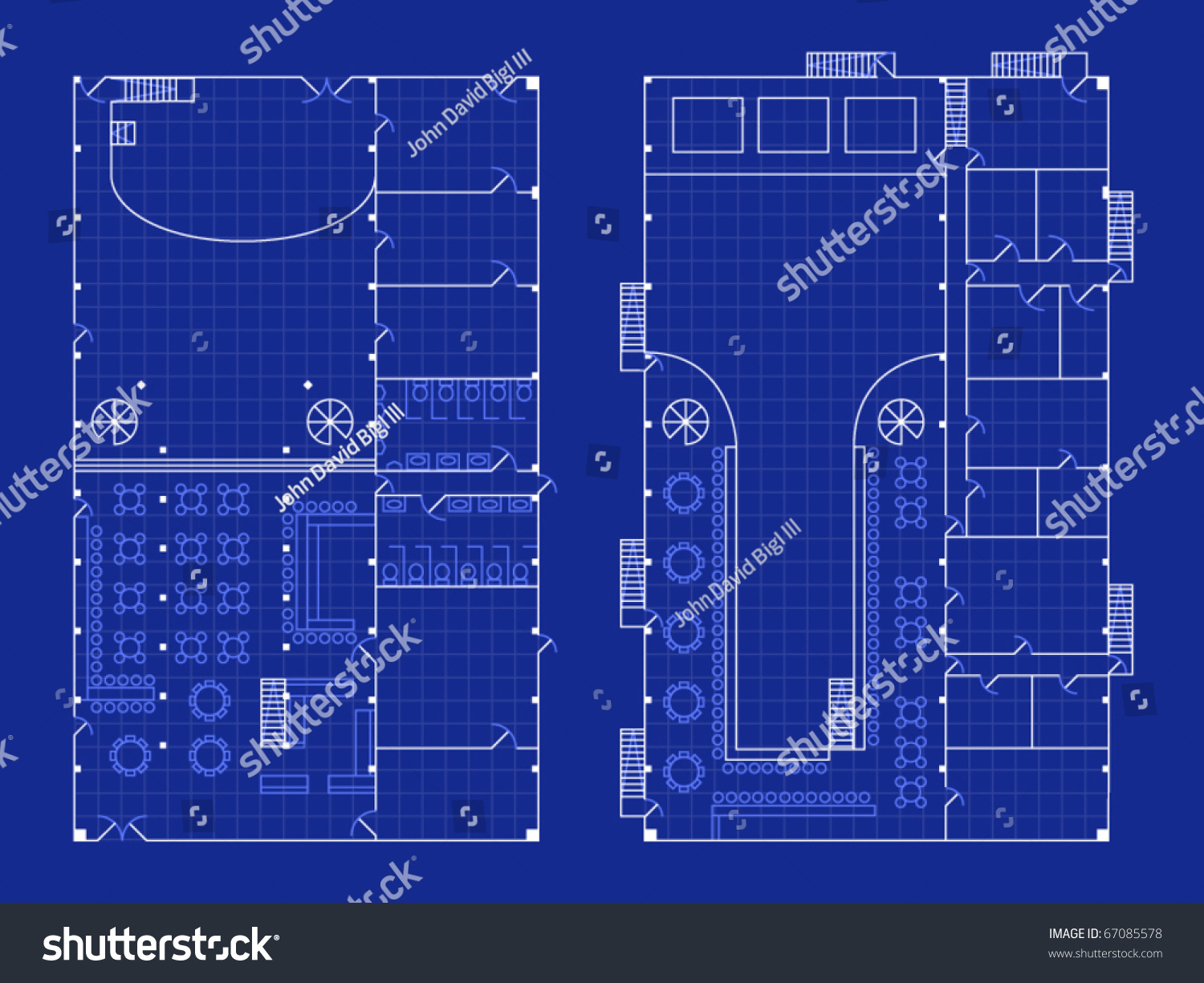 Floorplan Nightclub Stage Bar Blueprint Style Stock Vector