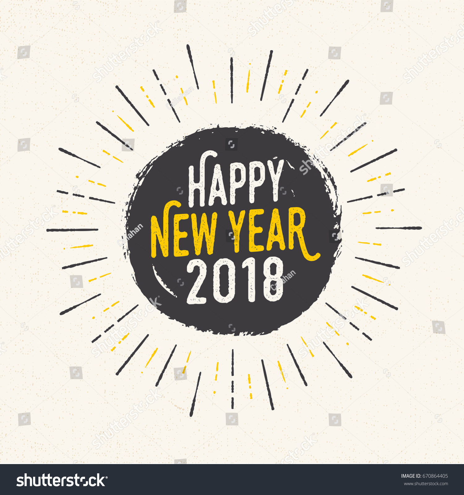 handmade style greeting card happy new year 2018 vector eps10
