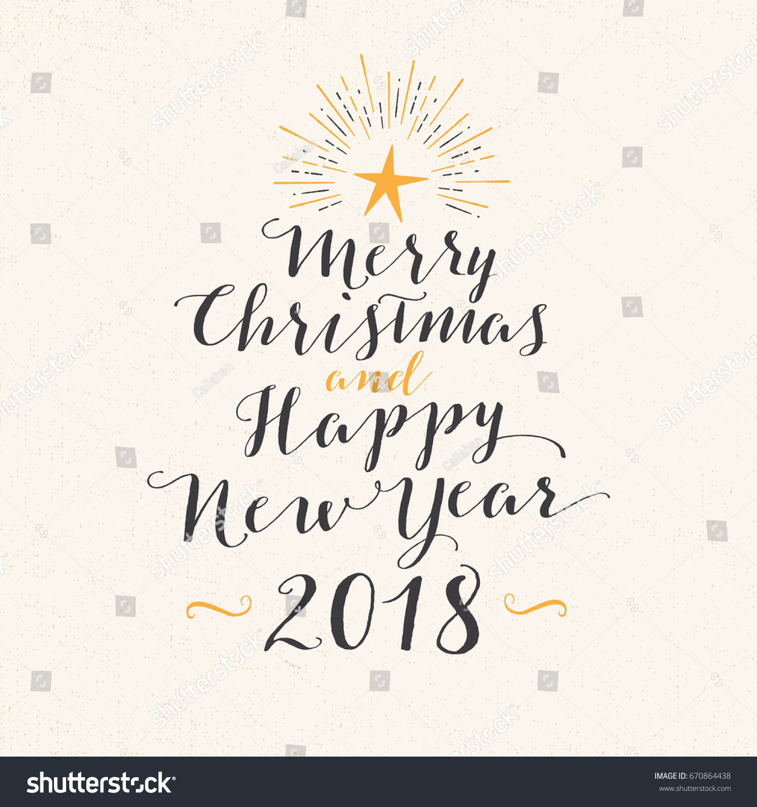 handmade style greeting card merry christmas and happy new year 2018 vector eps10