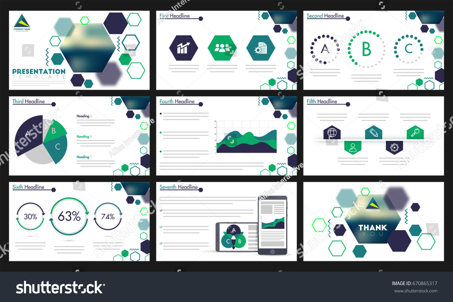 Presentation Template Green Infographic Elements Web Stock Vector