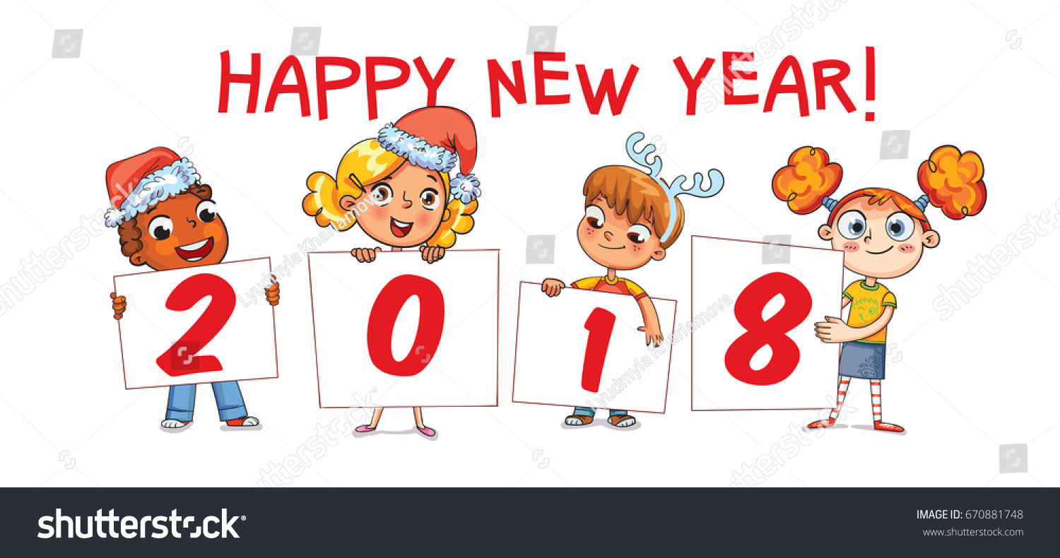 Children Holding Poster Signature 2018 Merry Stock Vector (Royalty ...