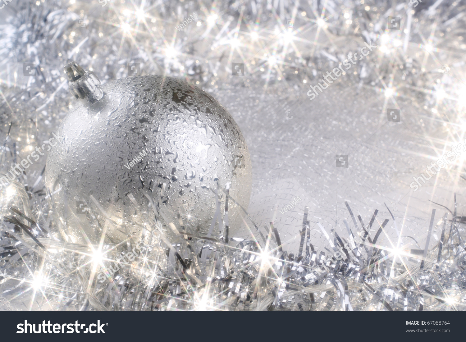 silver christmas card with sparkling christmas lights - Silver Christmas Lights