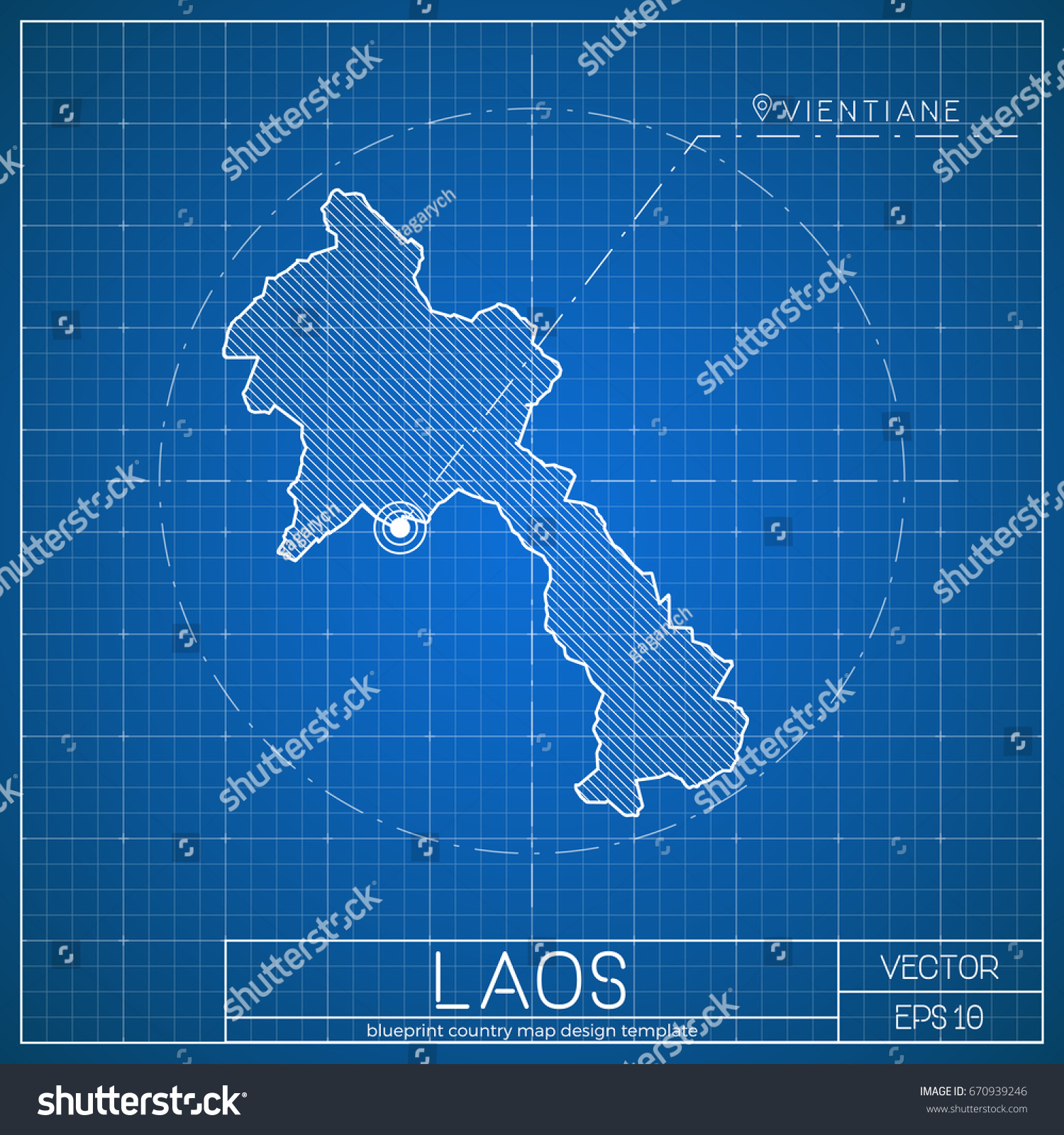Laos blueprint map template capital city stock vector 670939246 laos blueprint map template with capital city vector illustration malvernweather Image collections