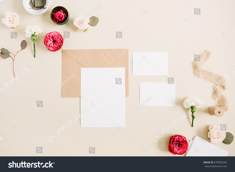 Wedding Invitation Cards Craft Envelope Pink Stock Photo (Royalty ...