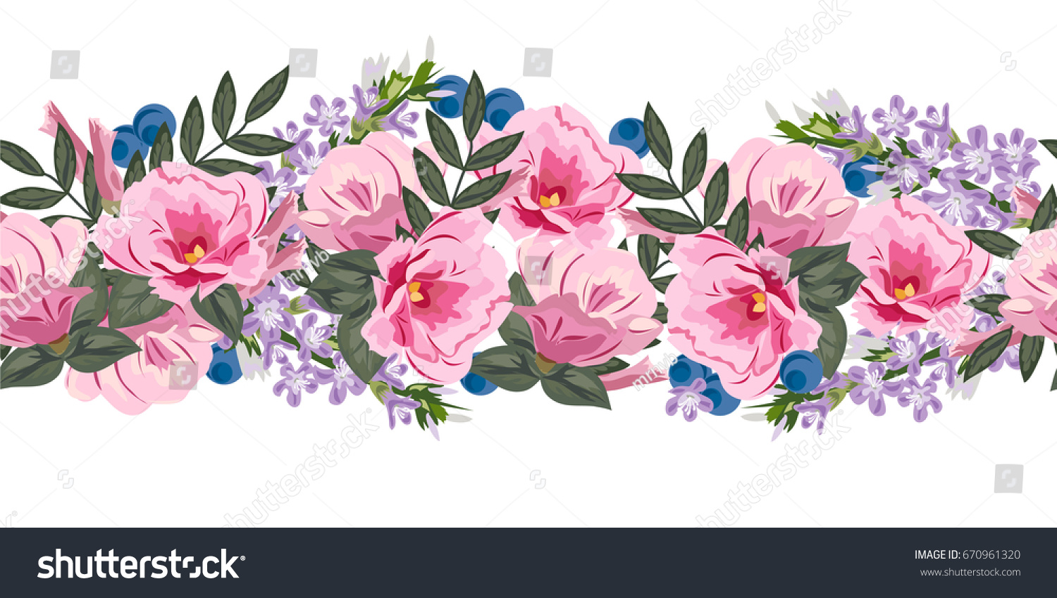 Seamless Floral Border Cute Pink Flowers Stock Illustration