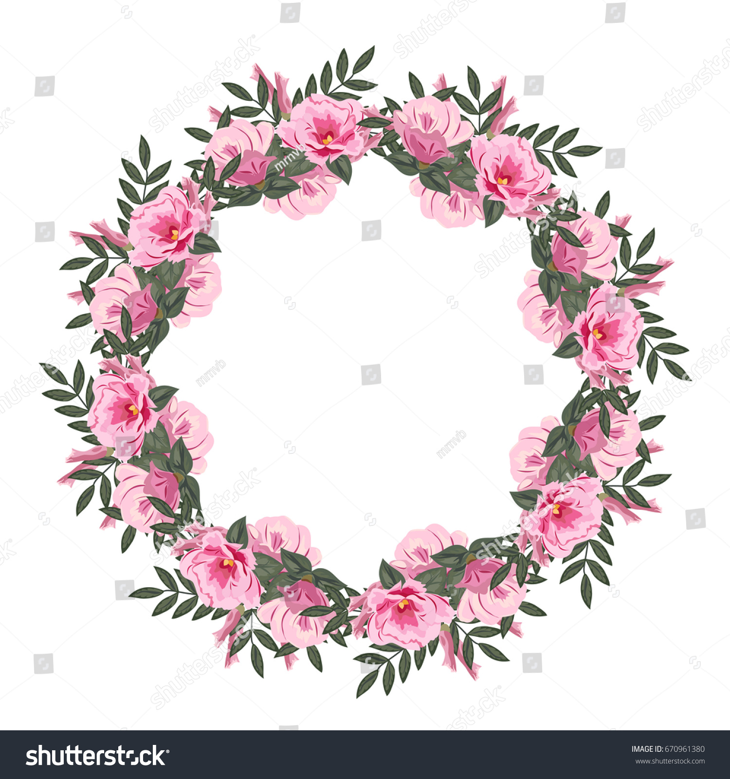 Beautiful Floral Wreath Lovely Pink Flowers Stock Illustration