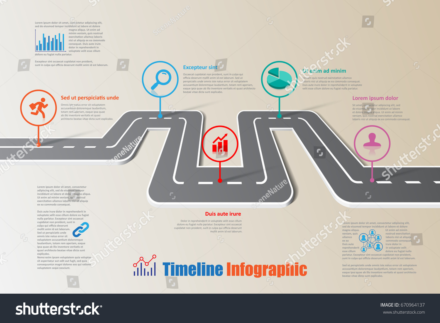 design template road map timeline infographic brochure diagram planning presentation process webpages workflow vector