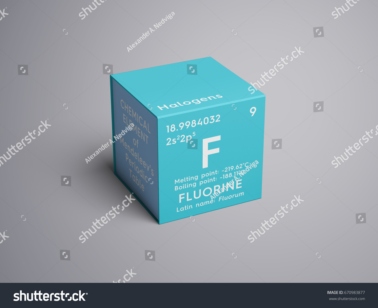 halogens chemical element of mendeleevs periodic table fluorine in square cube creative - Periodic Table Halogen Symbol