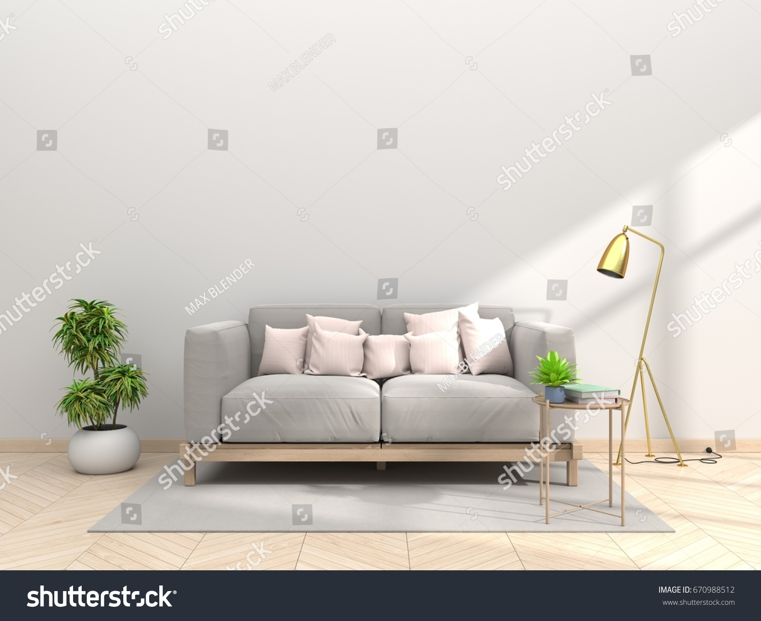 Design Living Room Sofa Pillow Pink Stock Illustration 670988512 ...
