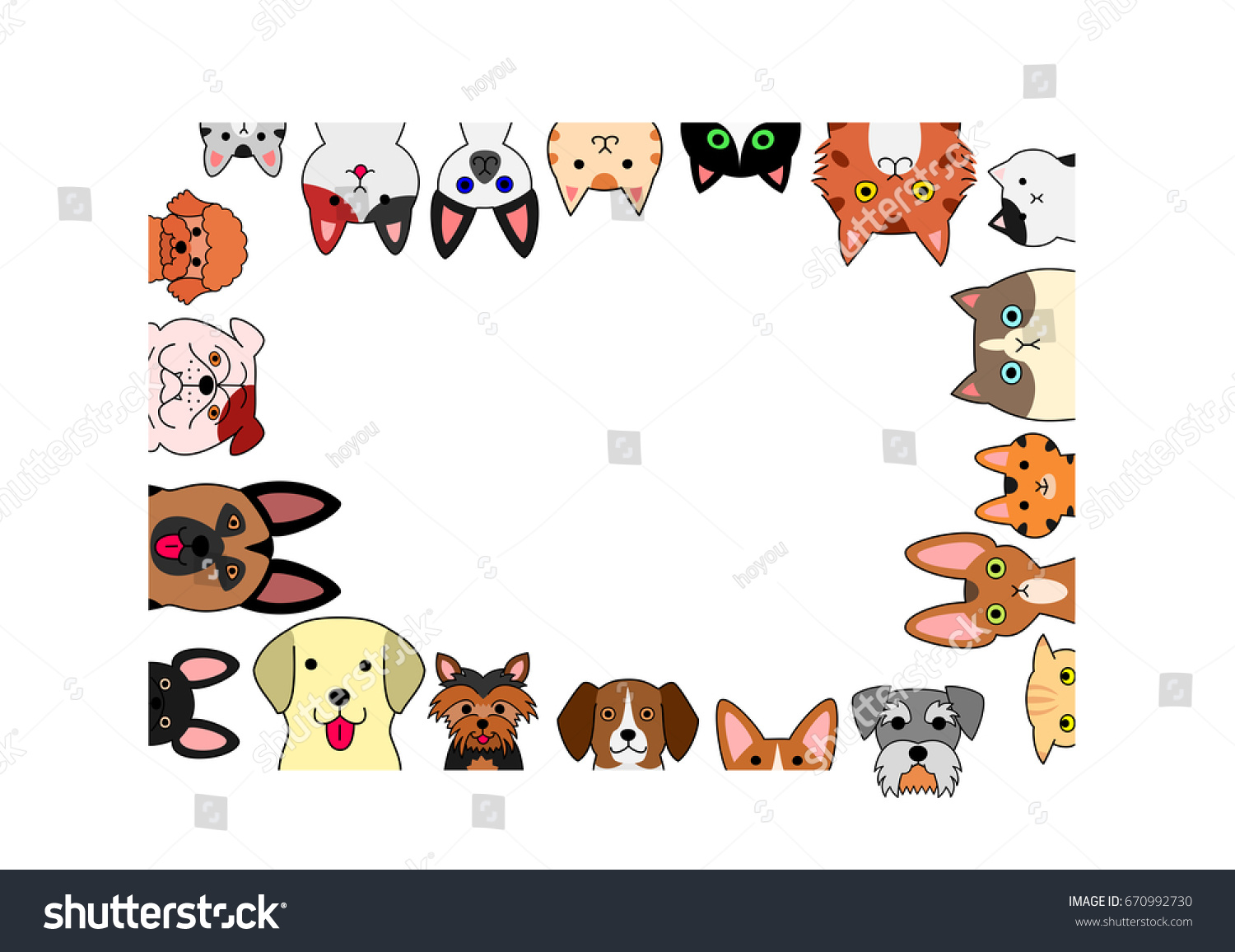 Cute Dogs Cats Rectangle Frame Stock Vector (Royalty Free) 670992730 ...
