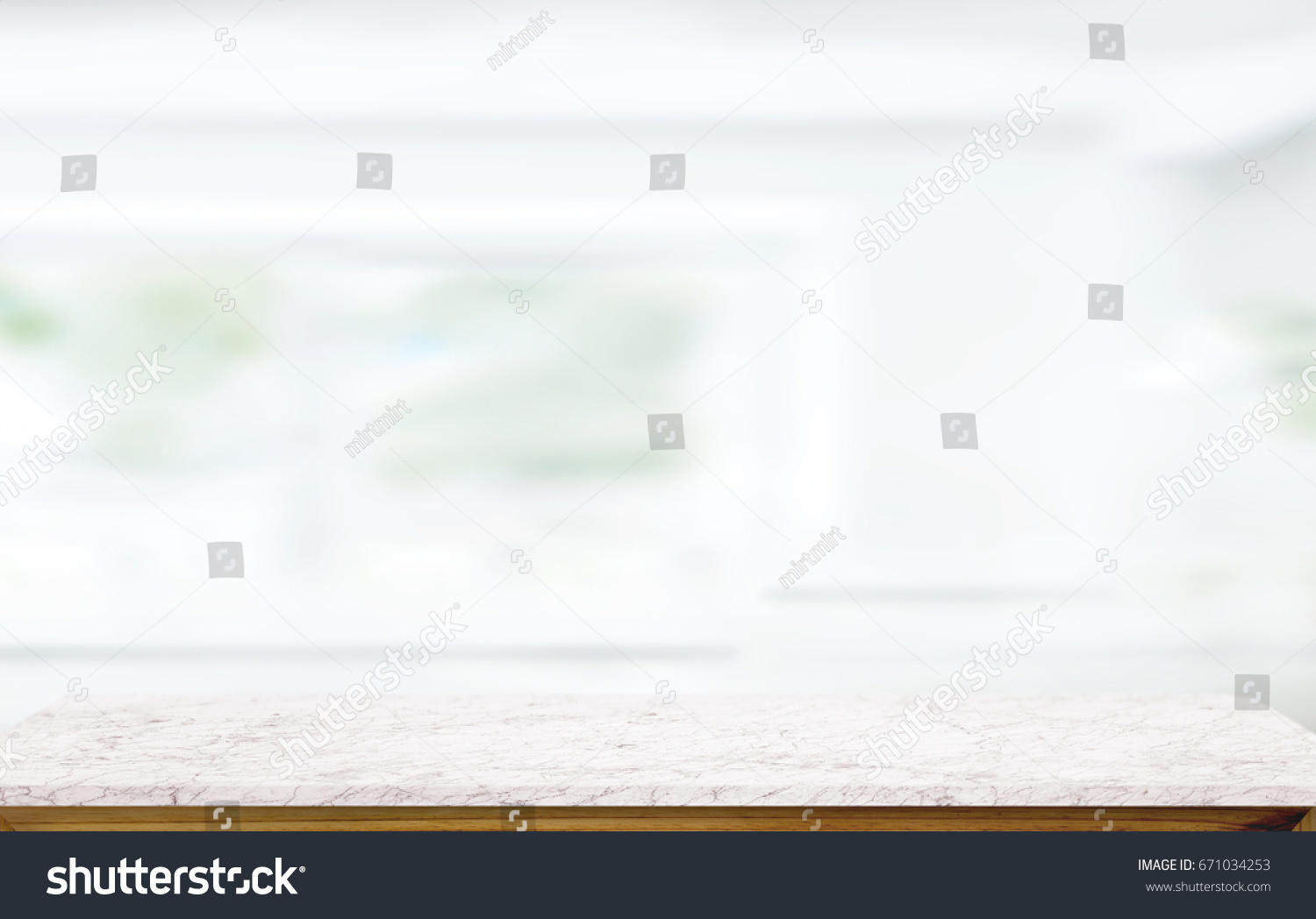 white marble table top. white marble table top on blur kitchen window background. for product or foods montage. a