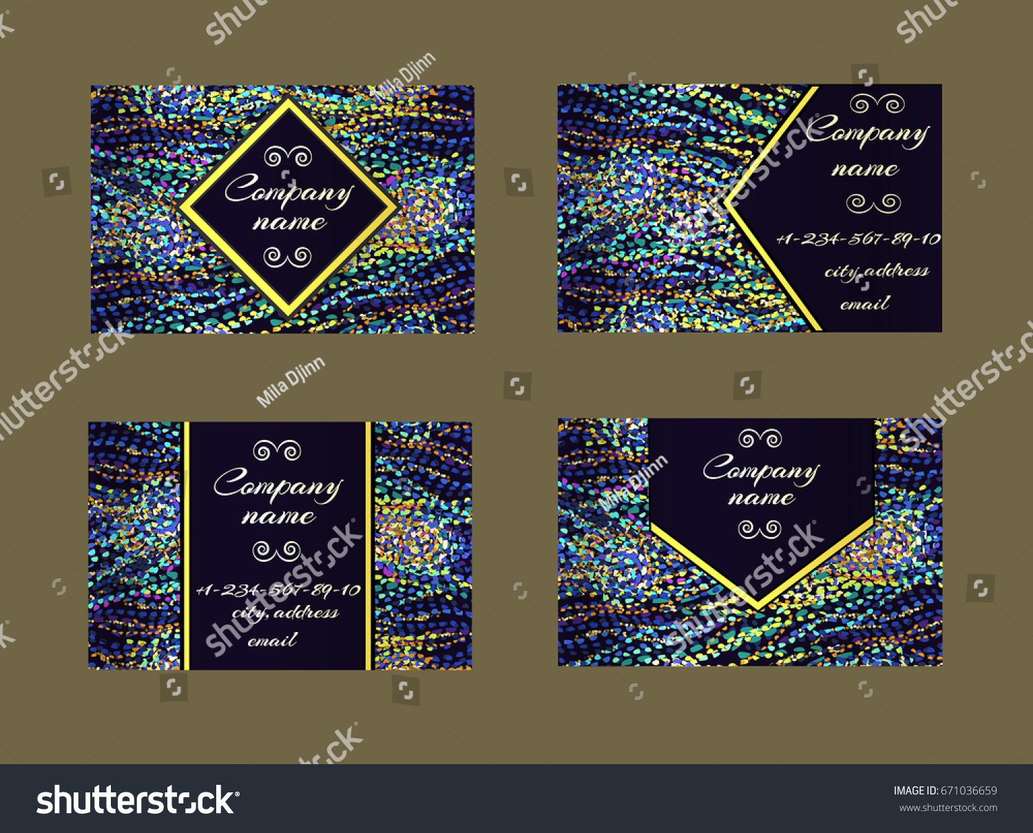 Set Business Cards Van Gogh Inspired Stock Vector 671036659 ...