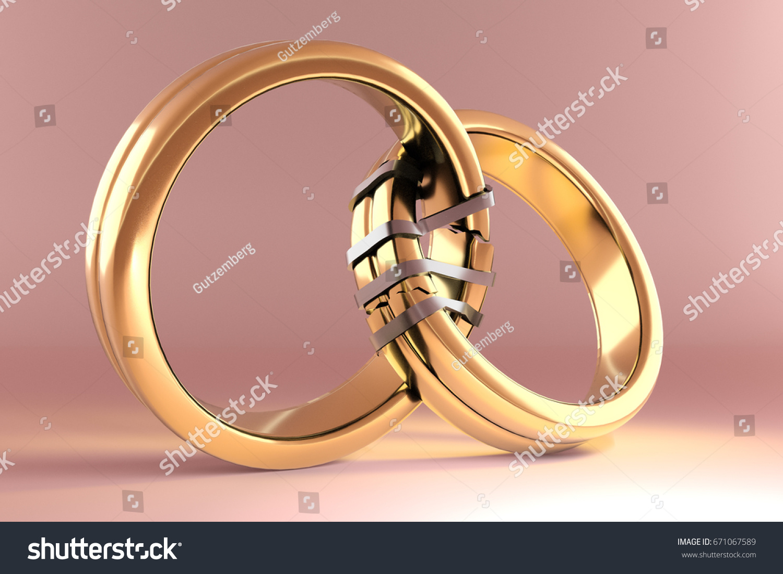 3 D Illustration Wedding Rings Symbolizing Reunion Stock ...
