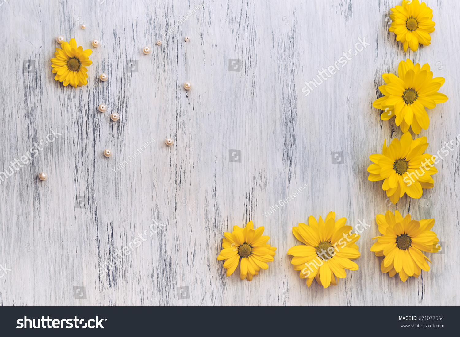 Wooden Surface Painted White Yellow Flowers Stock Photo Edit Now