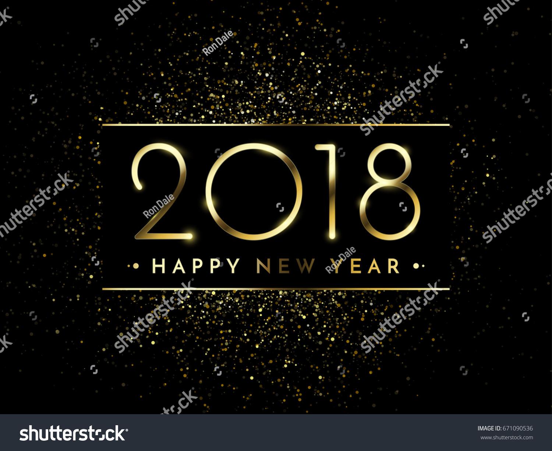 vector 2018 new year black background with gold glitter confetti splatter texture festive premium design