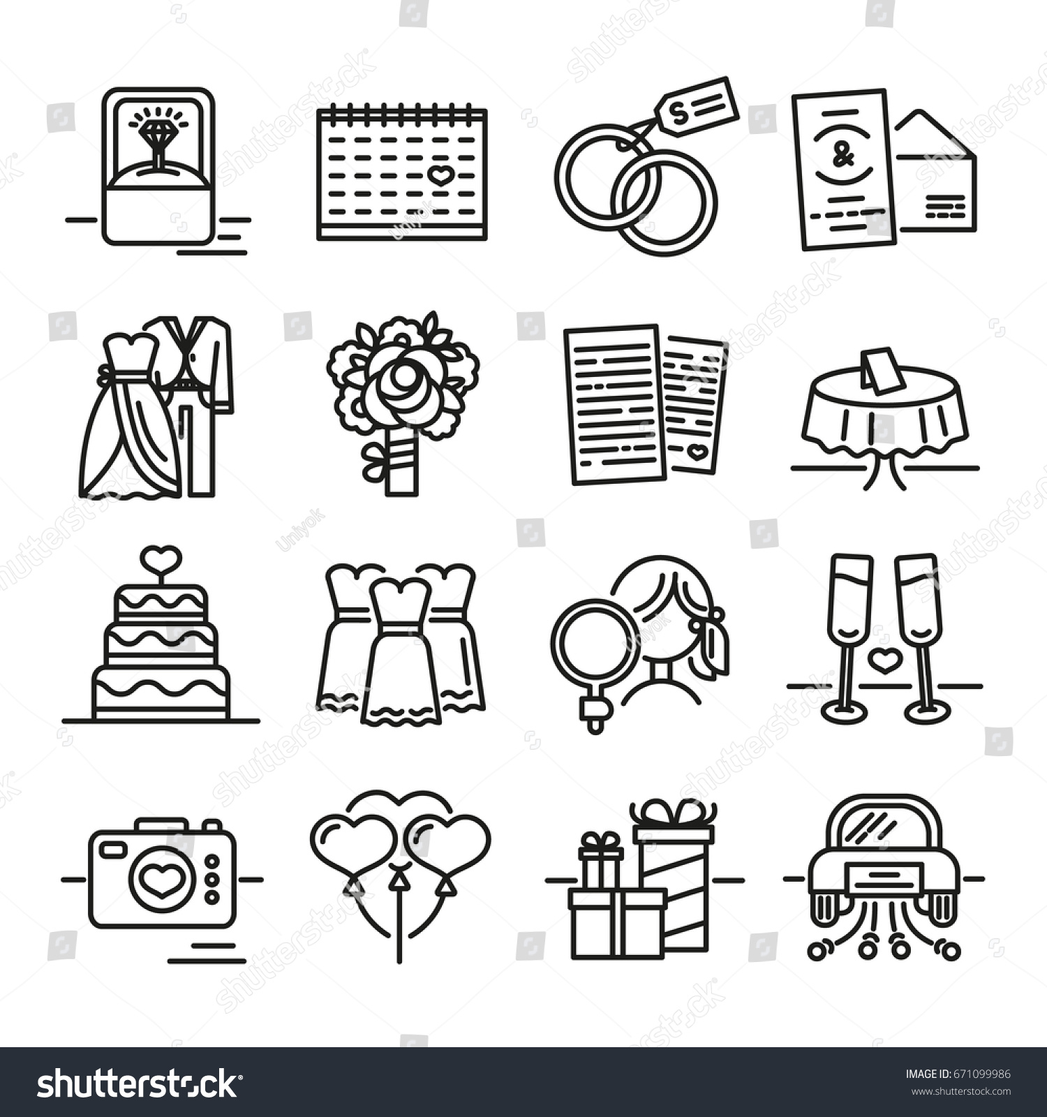 Set line icon wedding symbols groom stock vector 671099986 set line icon for wedding the symbols of the groom the bride the biocorpaavc Image collections