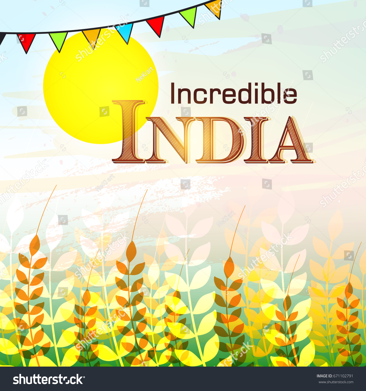 Incredible India Greeting Card Design 15 Stock Vector Royalty Free