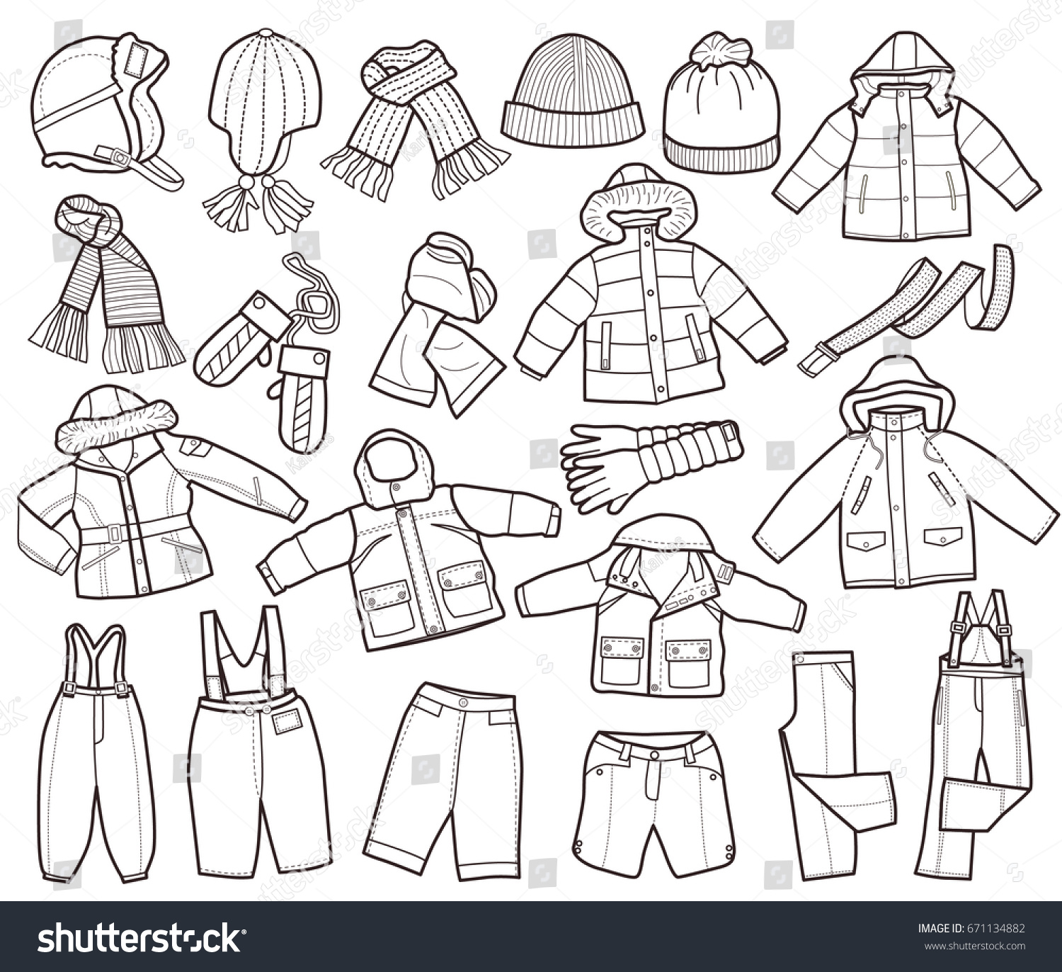 Collection Winter Childrens Clothing Coloring Book Stock Vector
