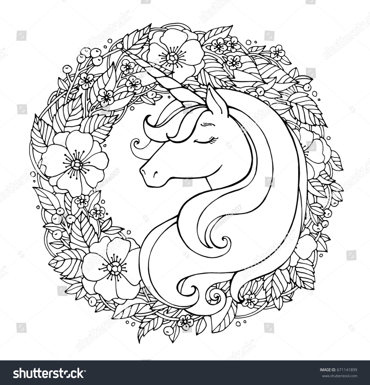 unicorn wreath flowers magical animal vector stock vector
