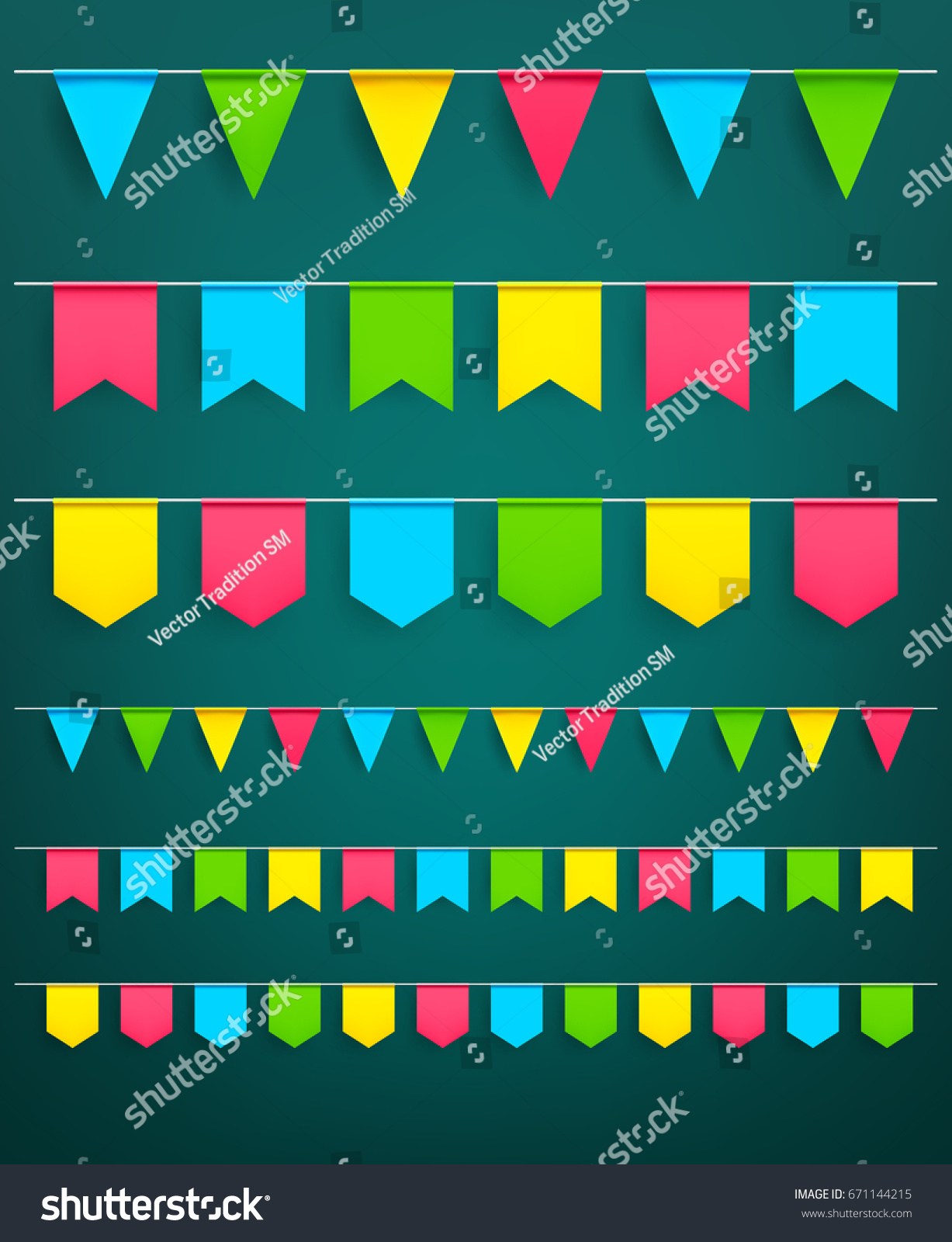 Flag garlands set bunting paper flags stock vector royalty free flag garlands set of bunting paper flags on thread for carnival or festival celebration christmas maxwellsz